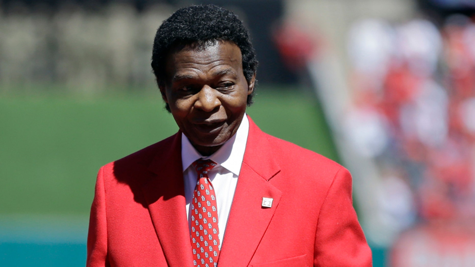 April 11, 2017: This file photo shows former St. Louis Cardinals great Lou Brock being introduced before the start a baseball game between the St. Louis Cardinals and the Milwaukee Brewers.