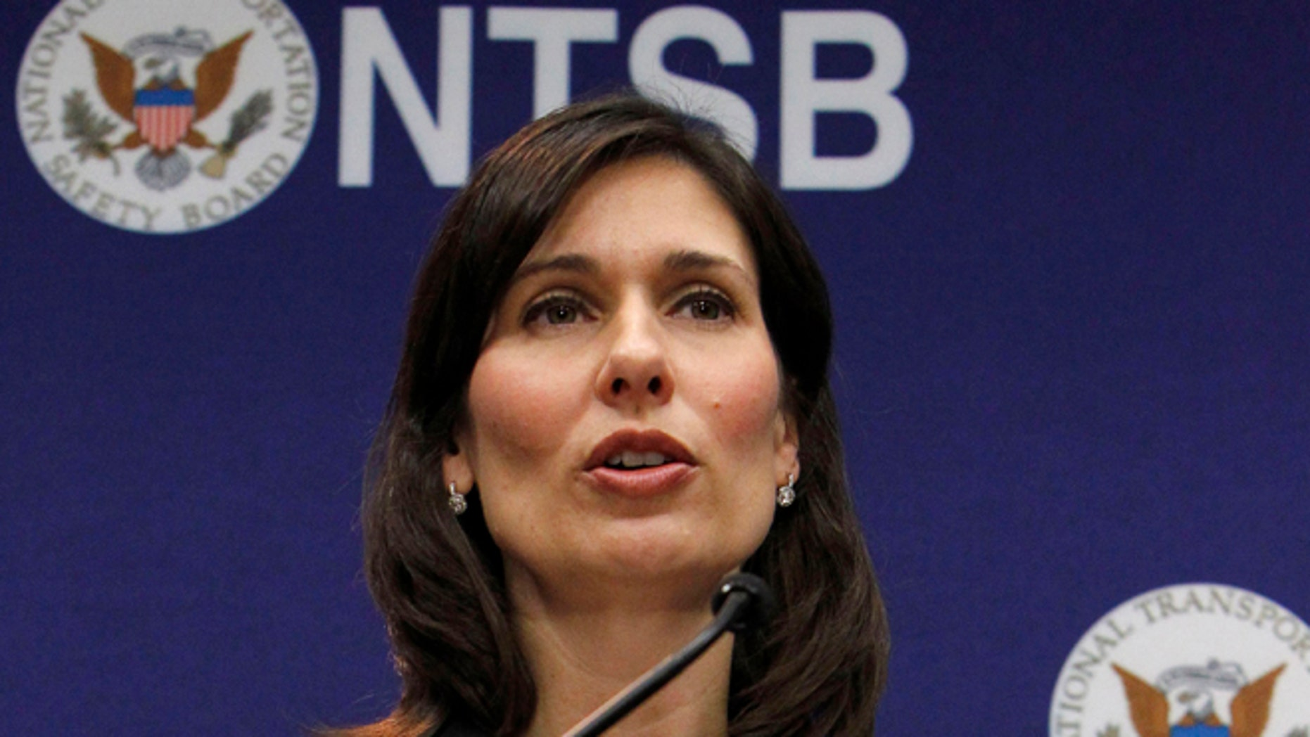 Feb. 7, 2013: National Transportation Safety Board (NTSB) Chair Deborah Hersman speaks during a news conference in Washington. Federal accident investigators were weighing a recommendation Tuesday that states reduce their threshold for drunken driving from the current .08 blood alcohol content to .05, a standard that has been shown to substantially reduce highway deaths in other countries. (AP)