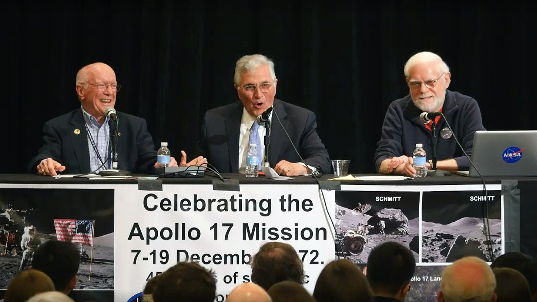 Apollo 17 flight director Gerry Griffin (left), retired astronaut Jack Schmitt (center) and backroom scientist James Head held a panel discussion for the 45th anniversary of the Apollo 17 mission at the Lunar and Planetary Science Conference in The Woodlands, Texas, on March 21, 2018.