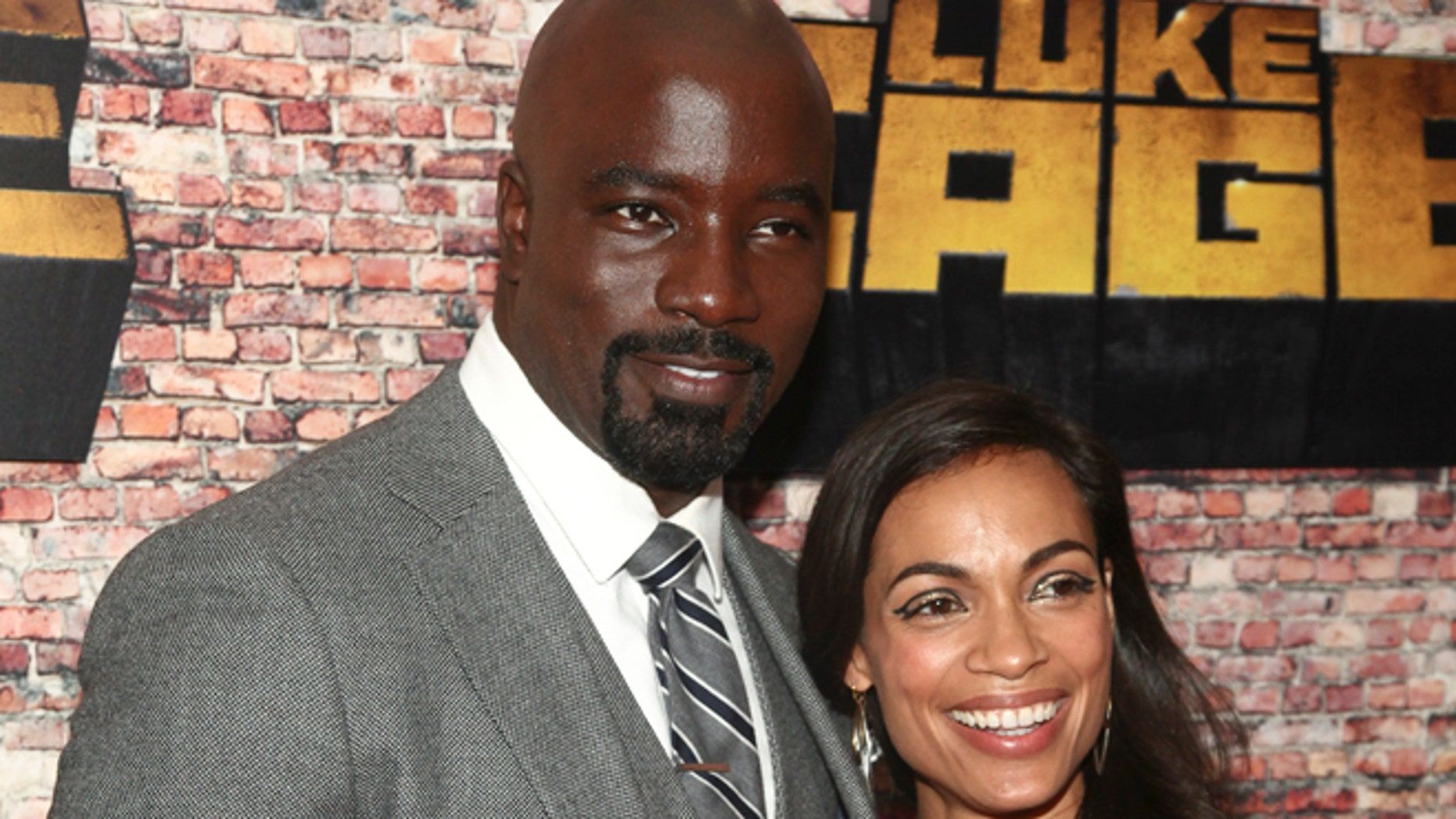 """Mike Colter and Rosario Dawson at the premiere of """"Luke Cage"""" in New York."""