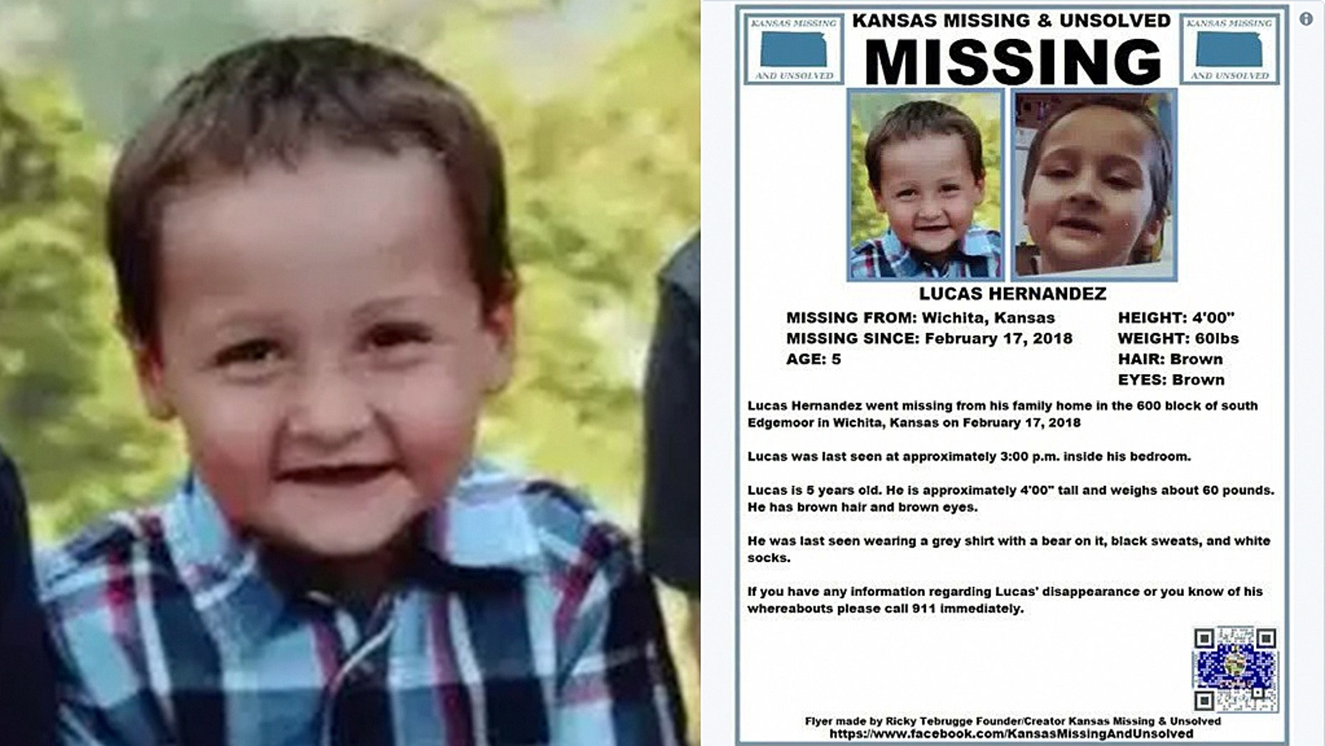 The body of five-year-old Kansas boy Lucas Hernandez, missing since Feb. 17, was reportedly found Thursday.