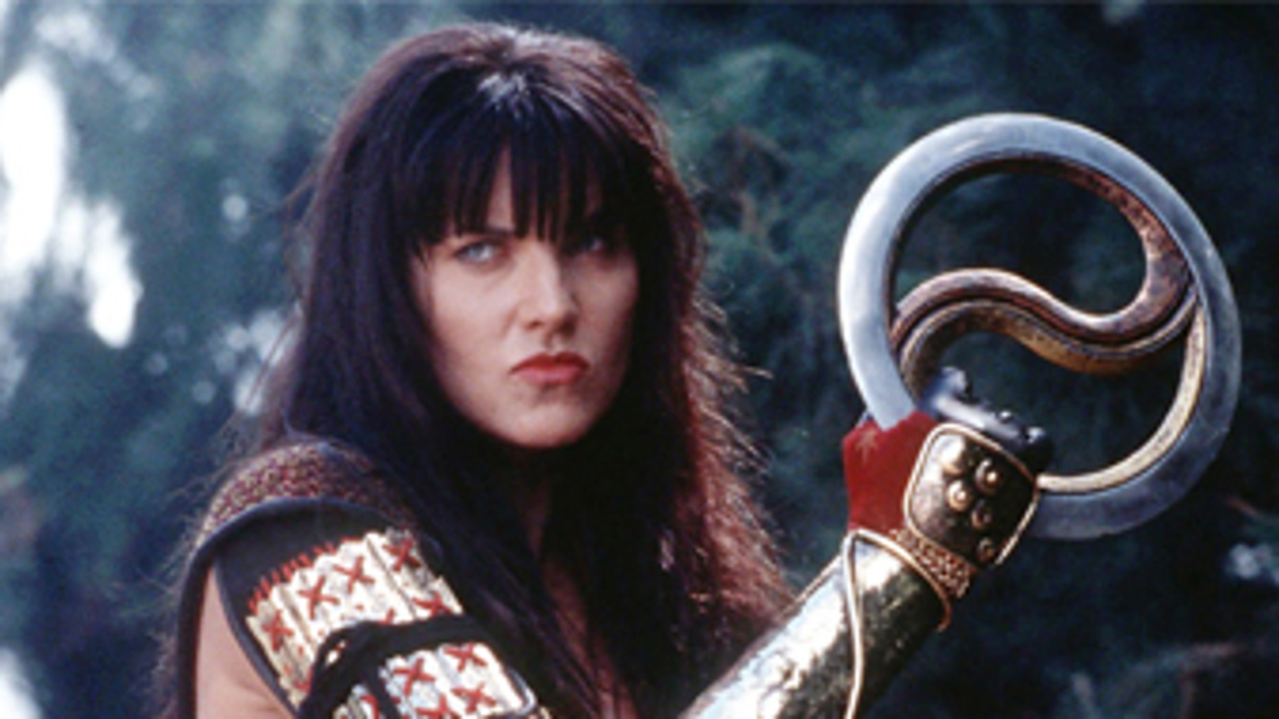 """Lucy Lawless as Xena in scene from final episode of the TV series """"Xena, Warrior Princess."""""""