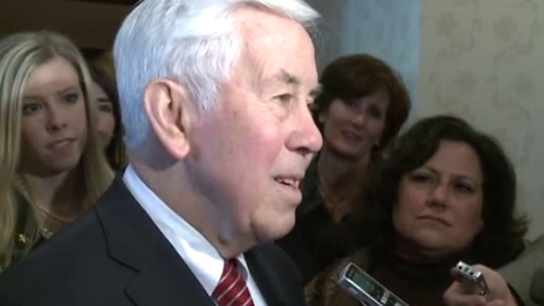 Feb. 20, 2012: Sen. Richard Lugar talks to reporters about his official state residency.