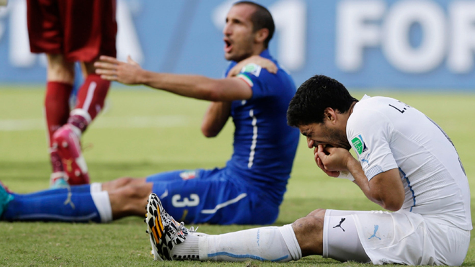 June 24, 2014: Italy's Giorgio Chiellini complains after Uruguay's Luis Suarez ran into his shoulder with his teeth during the group D World Cup soccer match between Italy and Uruguay at the Arena das Dunas in Natal, Brazil.