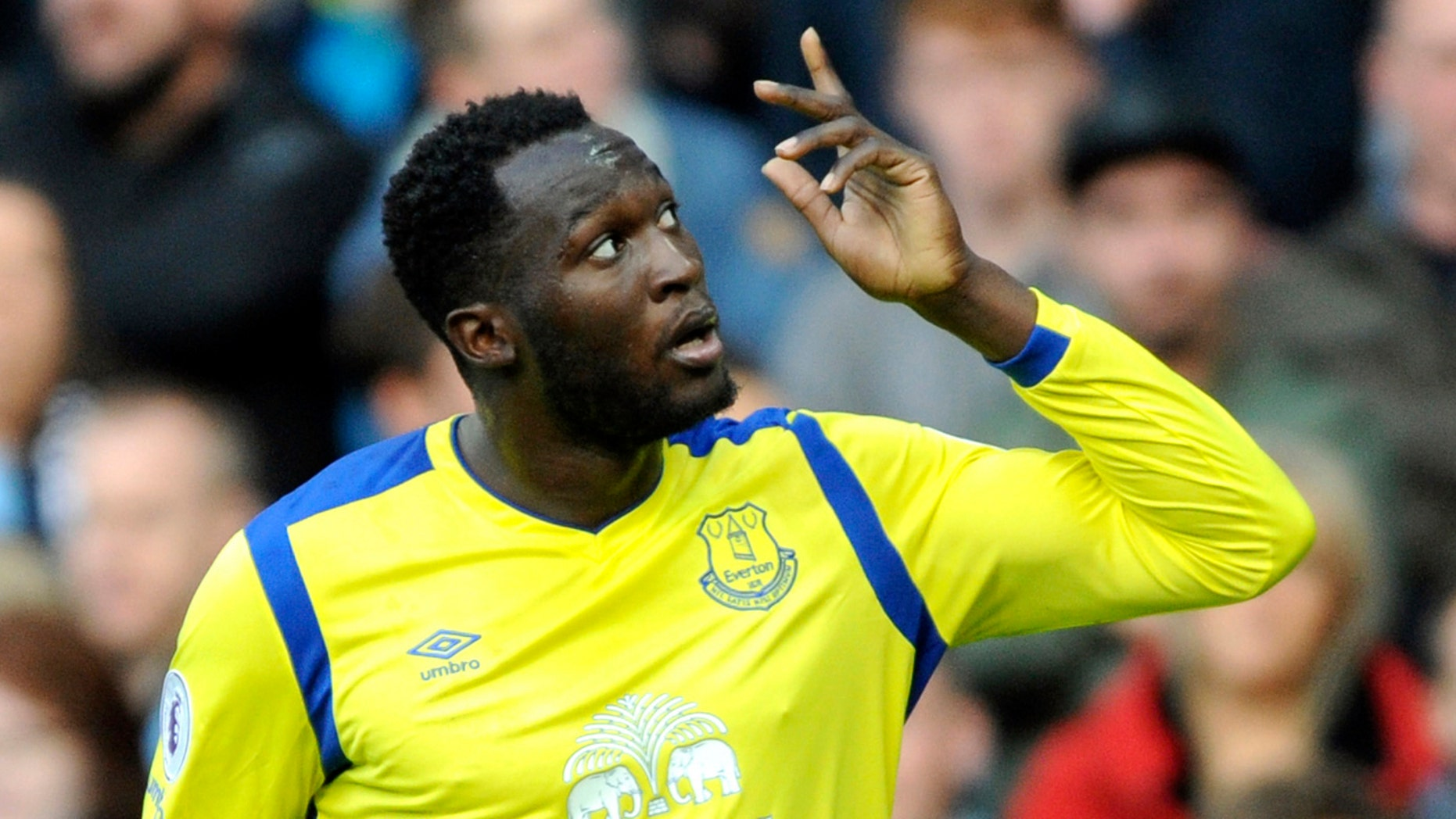 In this Saturday, Oct. 15, 2016 file photo, Everton's Romelu Lukaku celebrates after scoring during the English Premier League soccer match between Manchester City and Everton at the Etihad Stadium in Manchester, England.