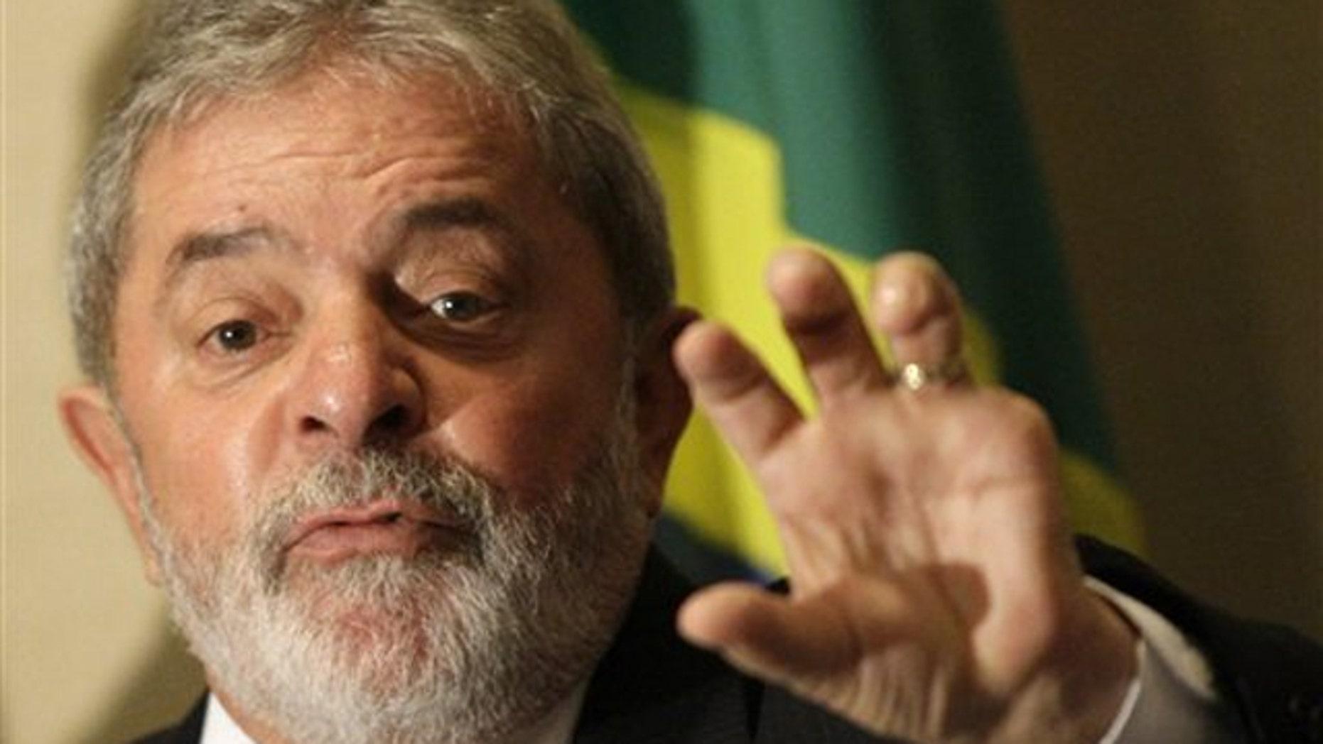Brazil's President Luiz Inacio Lula da Silva gestures during a press conference in Rio de Janeiro Dec. 3. (AP Photo)