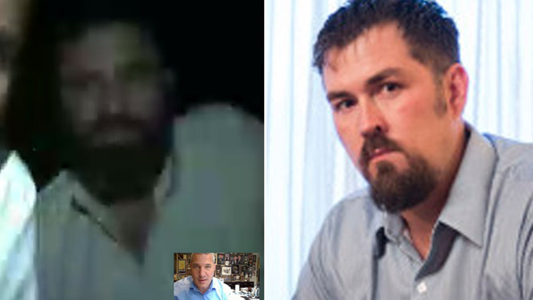 Mohammad Gulab, shown at left Skyping with immigration attorney Michael Wildes, is living in an undisclosed location. He's received death threats since the case of him saving former Navy SEAL Marcus Luttrell, (r.), was portrayed in a film. (Michael Wildes, Reuters)