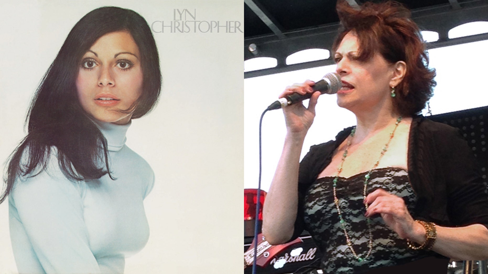 Lyn Christopher's album, left, and her at a KISS Kruise Party in Miami on Oct 27, 2013.