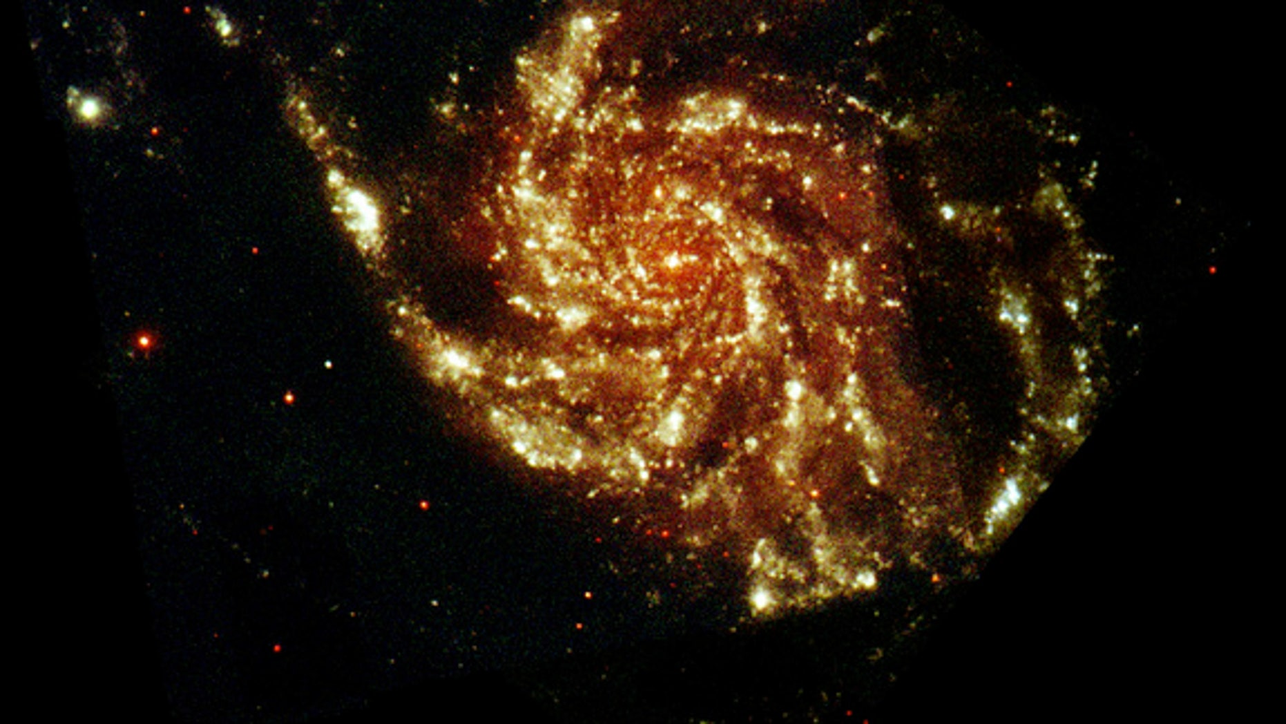 Messier 101, also known as the Pinwheel Galaxy, seen at ultraviolet and optical wavelengths, in an image taken by ESA's XMM-Newton space telescope. A new study looked at the Pinwheel Galaxy in hopes of finding evidence of dark matter interactio