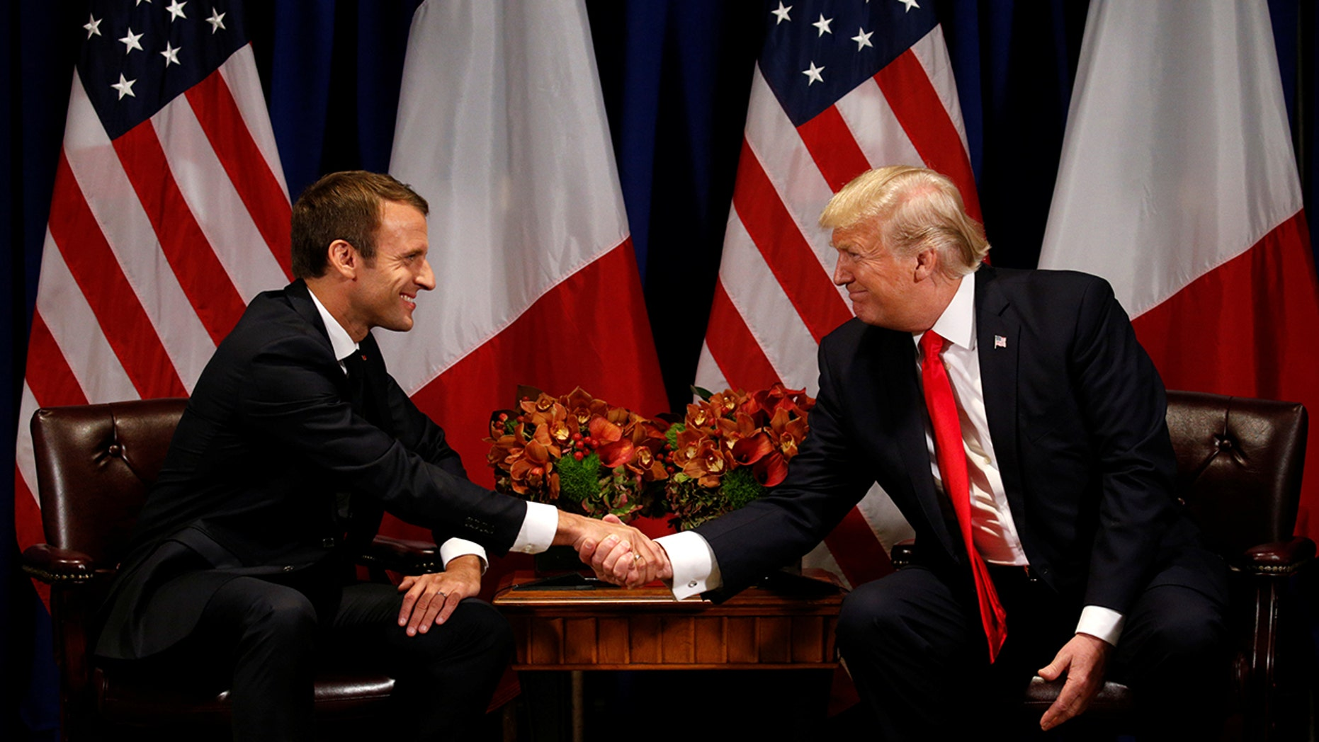 President Donald Trump meeting with French President Emmanuel Macron in New York.