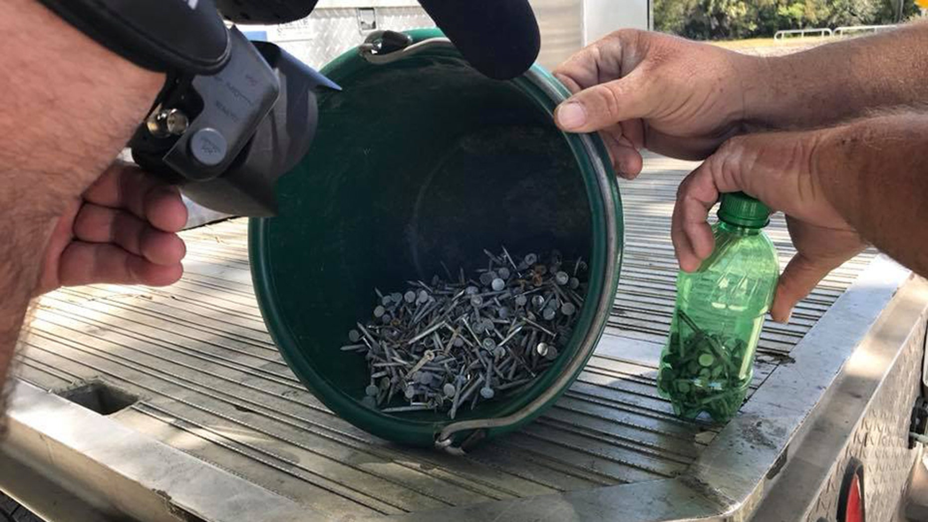- Authorities in Oak Hill in Florida say someone is dumping nails along U.S. 1, and they're doing it on purpose.