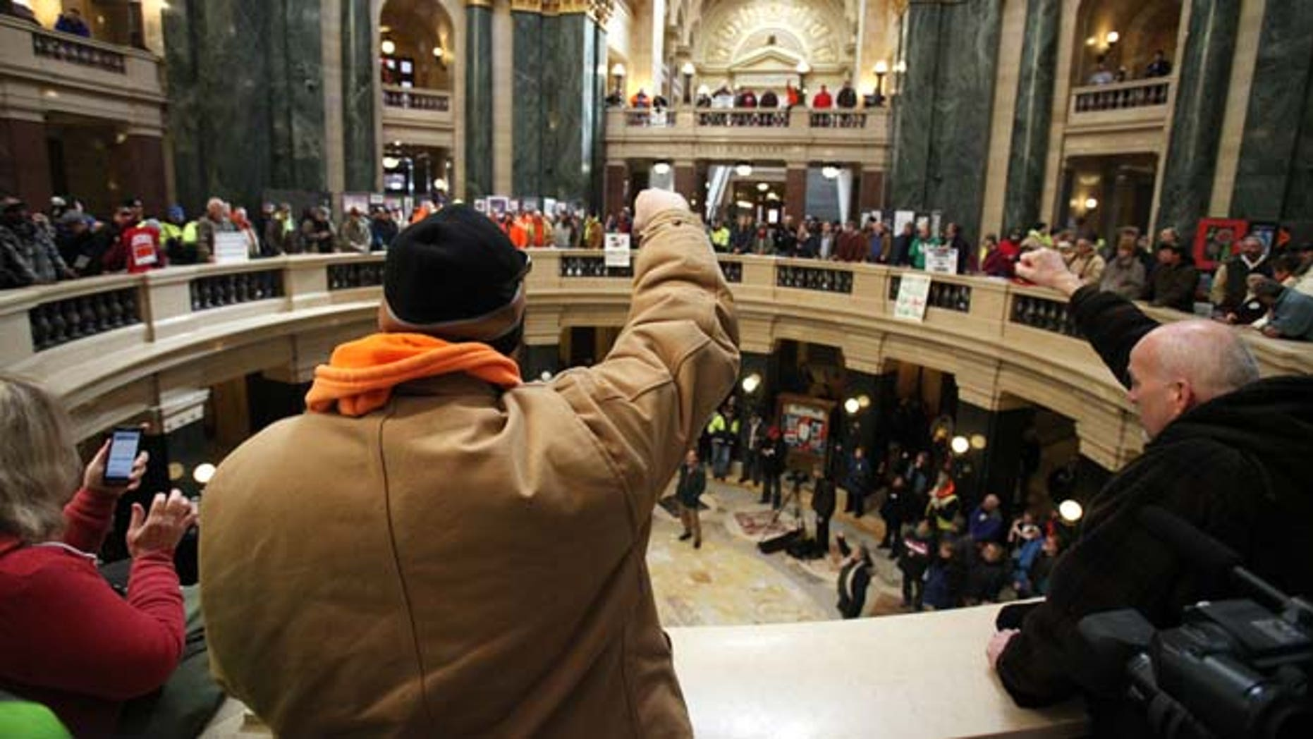 March 5, 2015: A crowd rallies inside the Wisconsin State Capitol as the state Assembly debates the right-to-work bill in Madison, Wis.