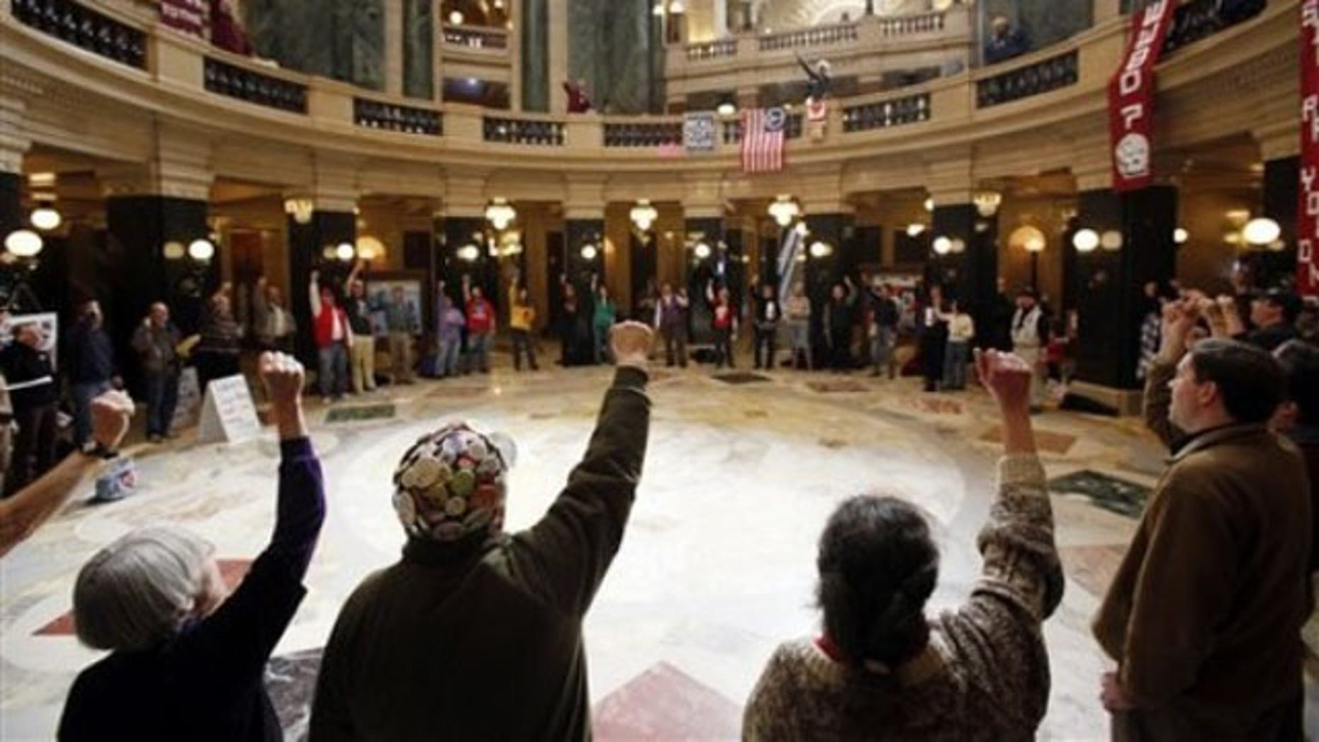 Feb. 27, 2012: Protesters participate in a daily protest at the state Capitol in Madison, Wis.