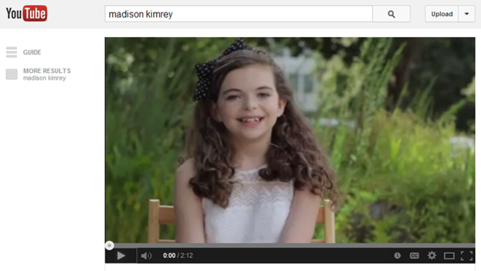 Madison Kimrey, 12, in a YouTube video. Kimrey has posted multiple videos of herself in her push for a sit-down with North Carolina Gov. Pat McCrory.