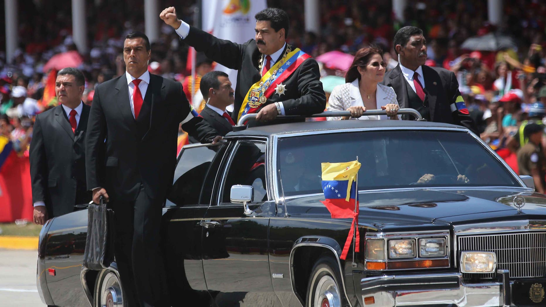 Venezuelan President Nicolas Maduro marking the first anniversary of the death of Hugo Chavez on March 5, 2014.