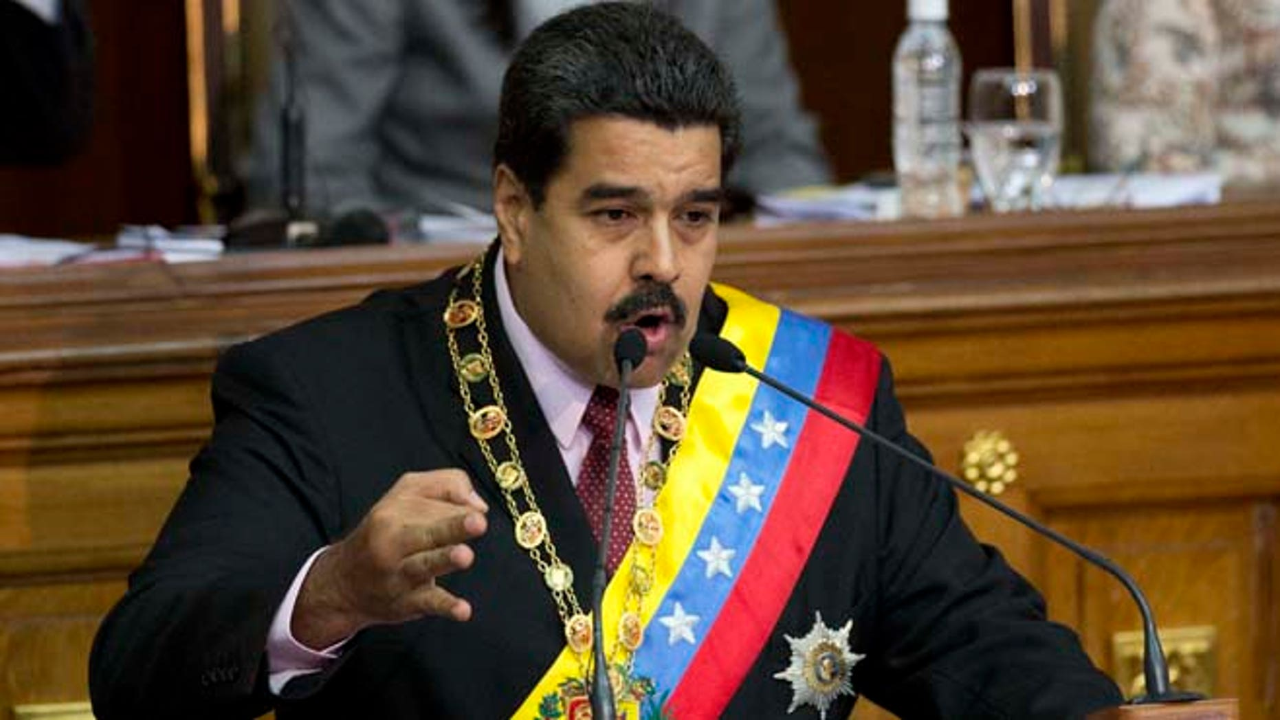 Venezuela's President Nicolás Maduro speaks at the National Assembly in Caracas, Venezuela, Monday, July 6, 2015. (AP Photo/Ariana Cubillos)