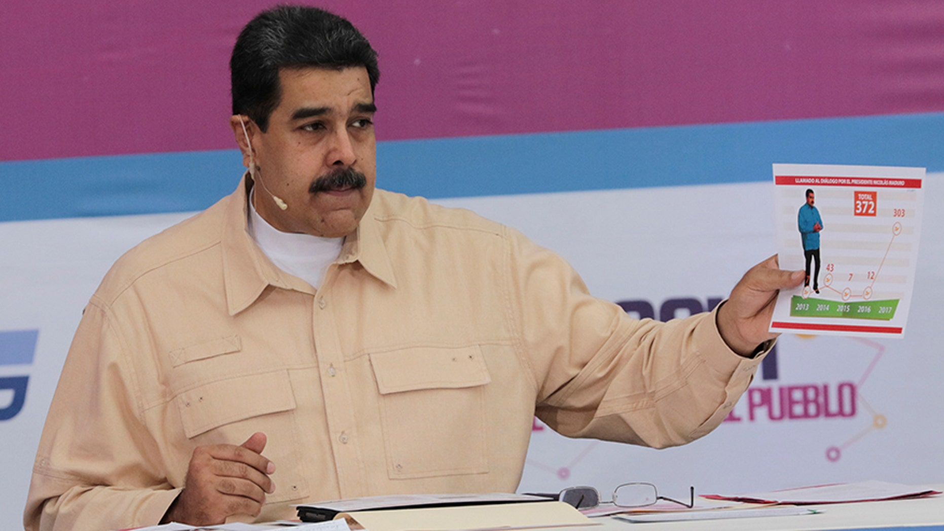 Venezuela President Nicolas Maduro speaks during his weekly radio and TV broadcast on Dec. 3, 2017.