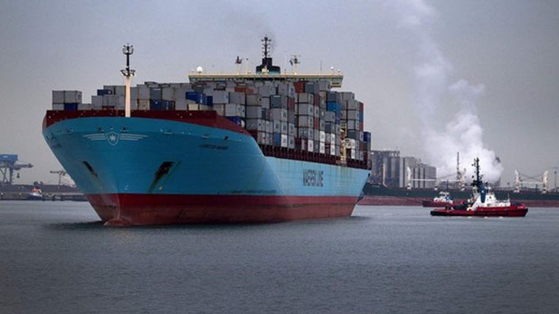 The Carsten Maersk enters Europe's largest port, Rotterdam, April 14.