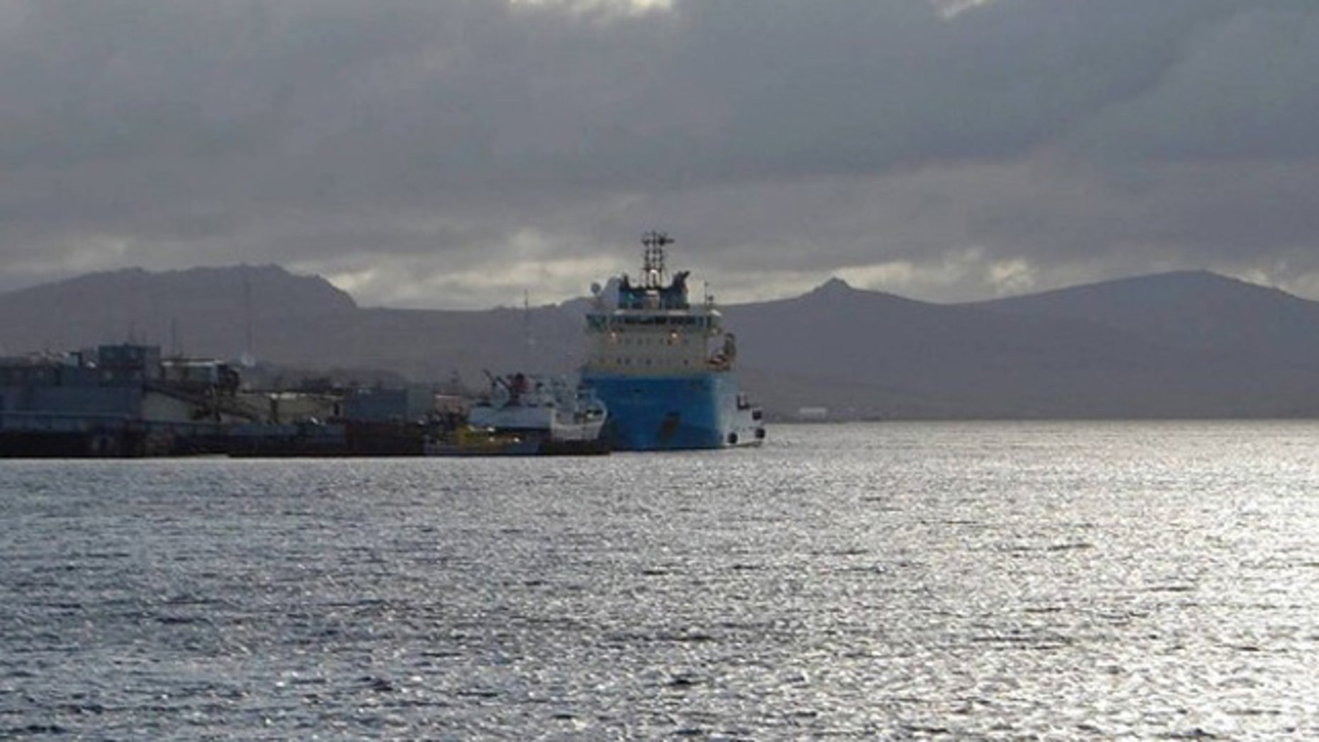 A Maersk supply boat is seen preparing to sail to a drilling rig offshore from the Falkland Islands in Port Stanley Feb. 26. (Reuters Photo)