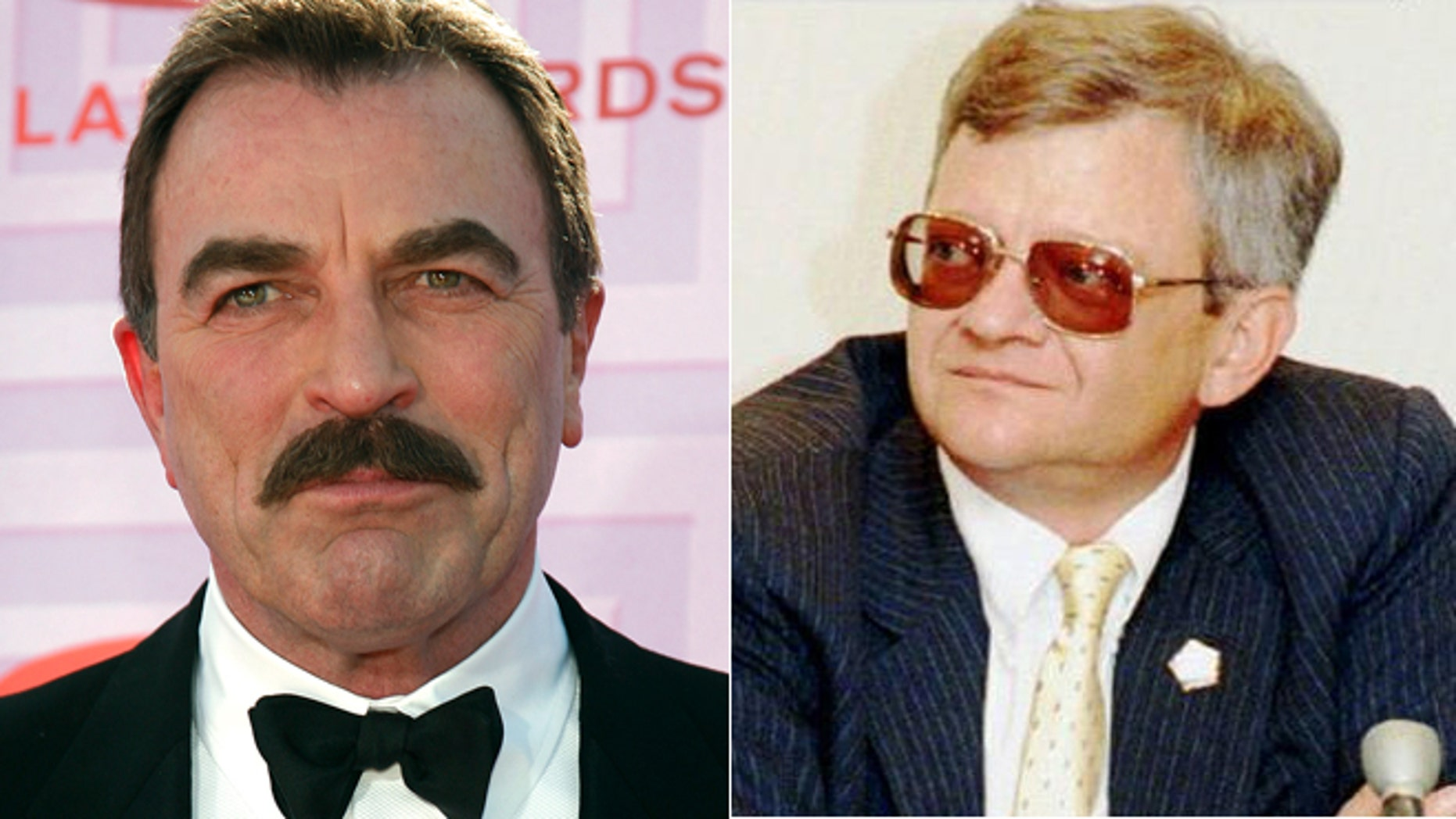"""Tom Selleck, left, and Tom Clancy, right, were planning to make a """"Magnum, P.I."""" movie."""