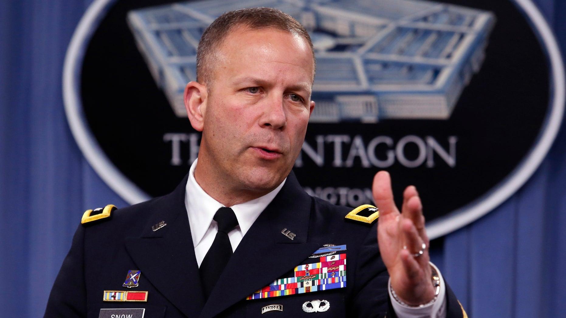 May 1, 2014: U.S. Army Maj. Gen. Jeffrey Snow speaks during a press briefing