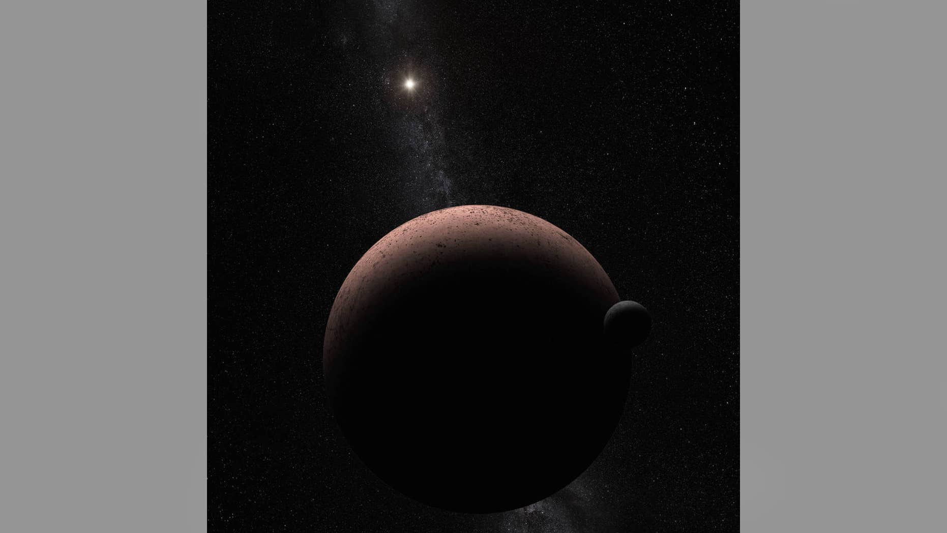 An artist's concept showing Makemake and its newly discovered moon. (NASA, ESA, and A. Parker)