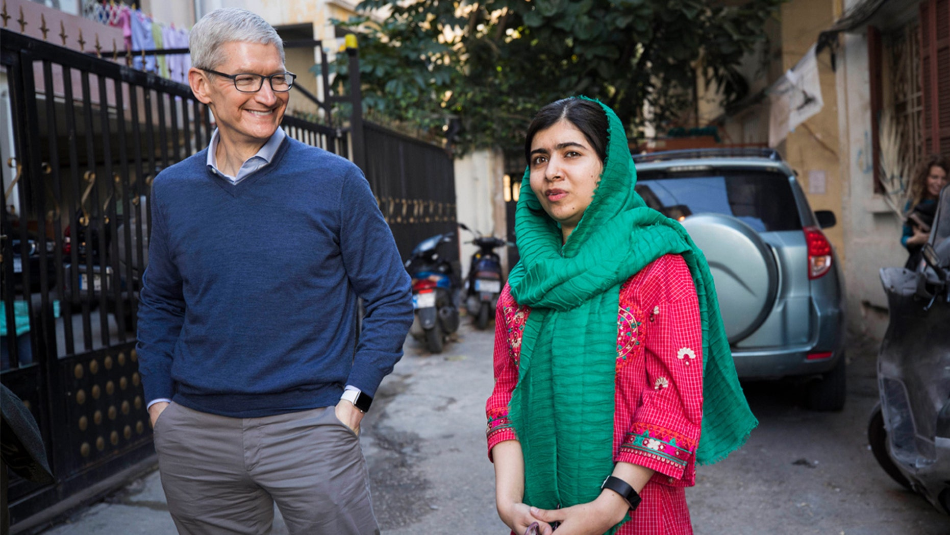 Apple CEO Tim Cook and Malala Yousafzai are seen in Beirut, Lebanon