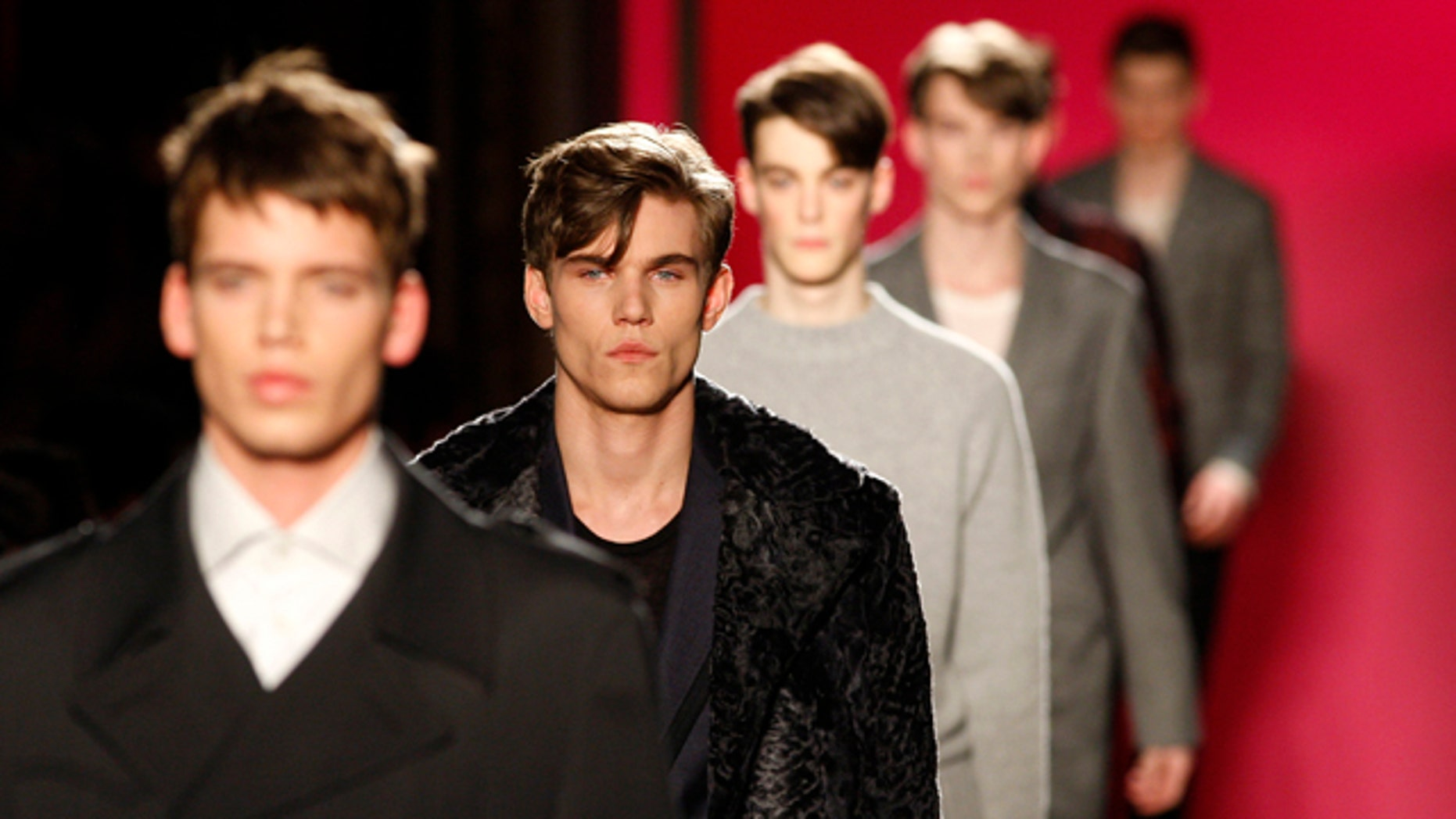 Models display creations by French designer Franck Boclet for fashion house Emanuel Ungaro as part of his Fall/Winter 2009/10 men's collections during Paris Fashion Week January 24, 2009.