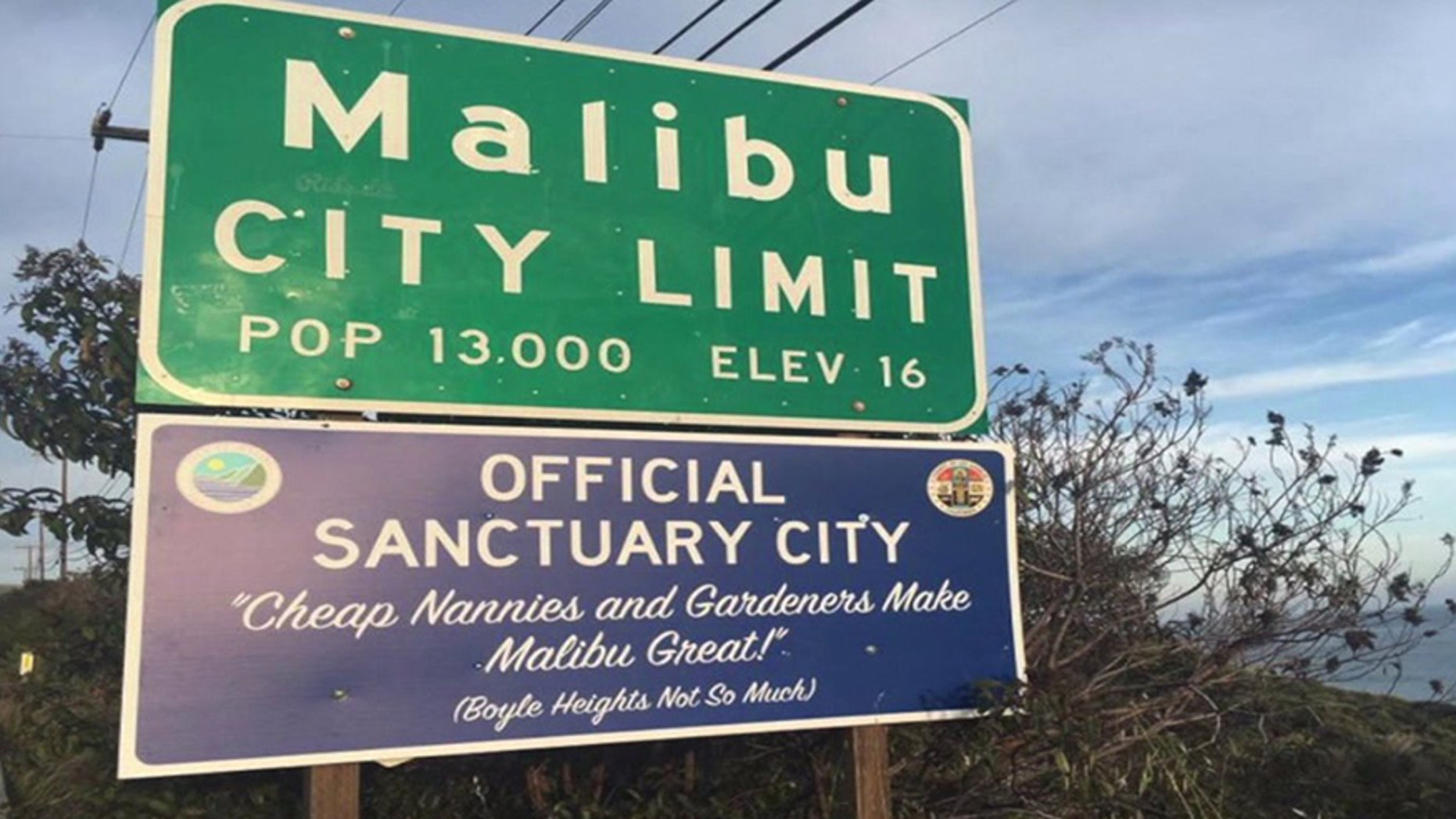 A sign placed in Malibu, Calif., in April 2017 is similar to one seen in January.