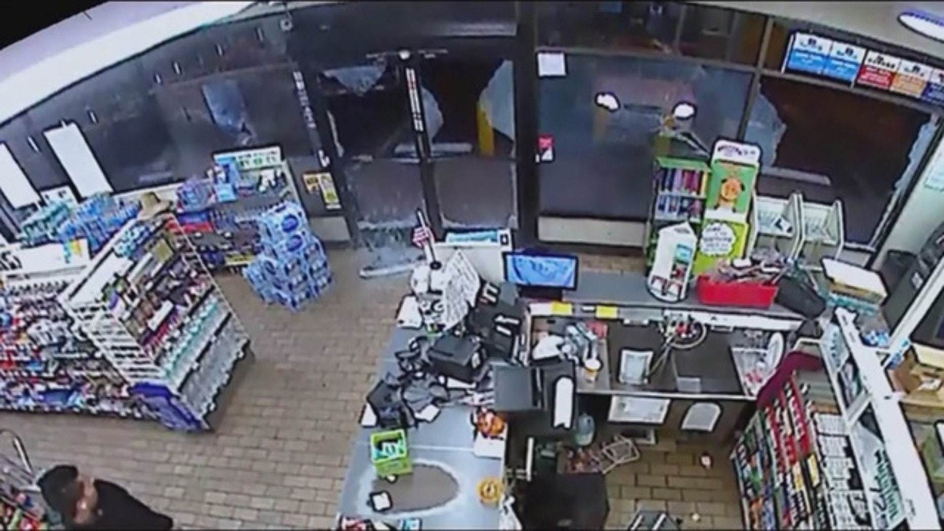 A vandal in California is being sought by Santa Ana police for smashing the windows of a 7-Eleven.