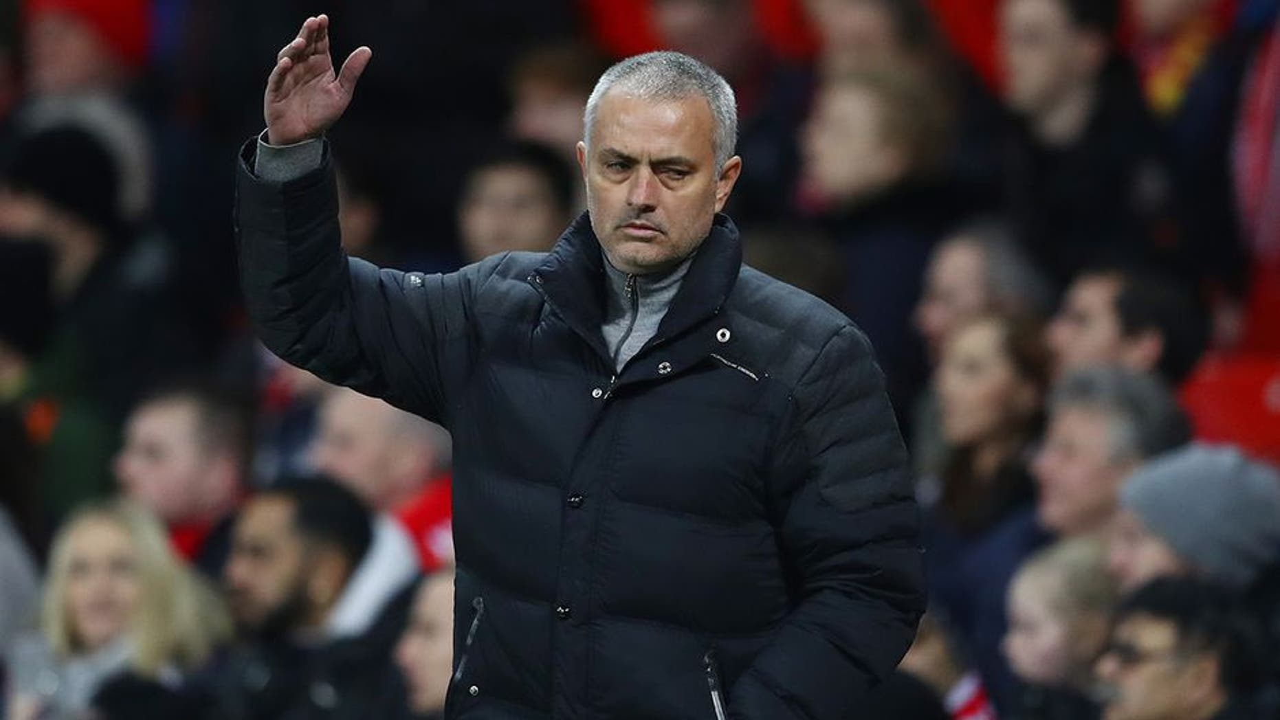 MANCHESTER, ENGLAND - FEBRUARY 01: Jose Mourinho, Manager of Manchester United reacts during the Premier League match between Manchester United and Hull City at Old Trafford on February 1, 2017 in Manchester, England. (Photo by Clive Mason/Getty Images)