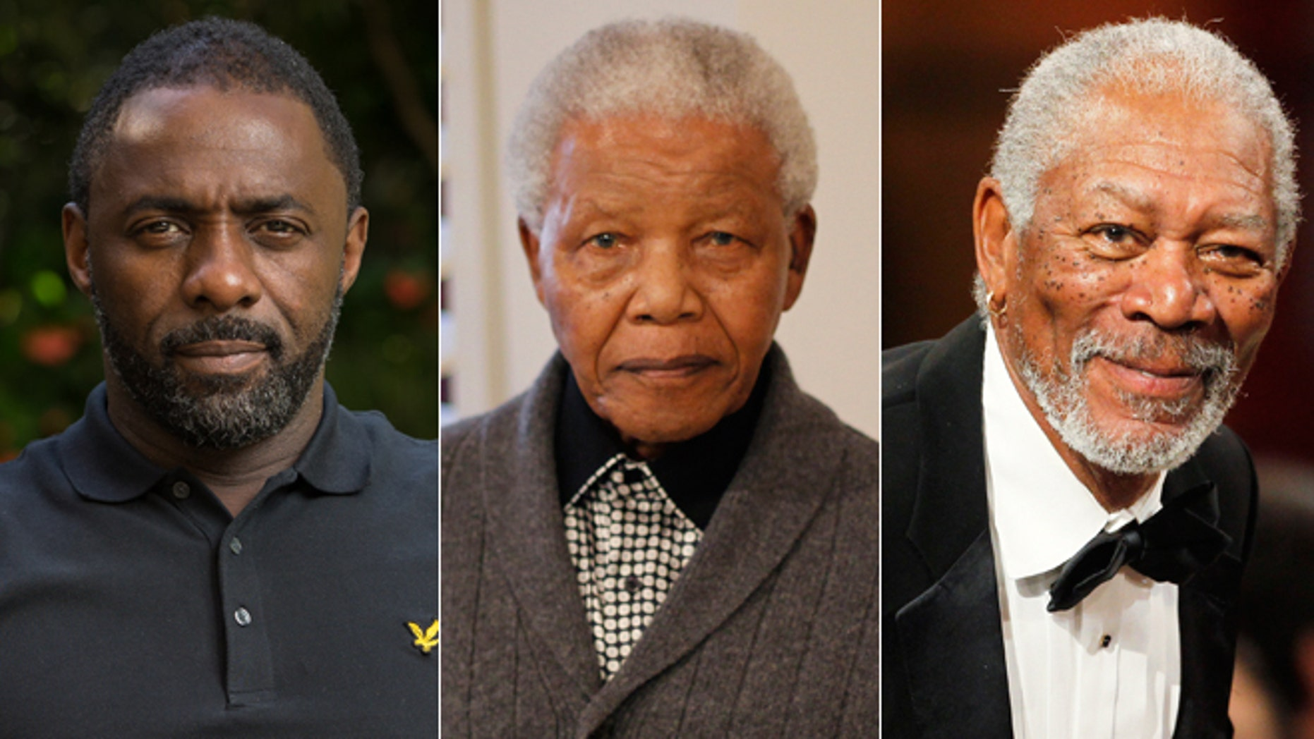 Idris Elba, left, and Morgan Freeman, right, reacted to news of Nelson Mandela's death, center.