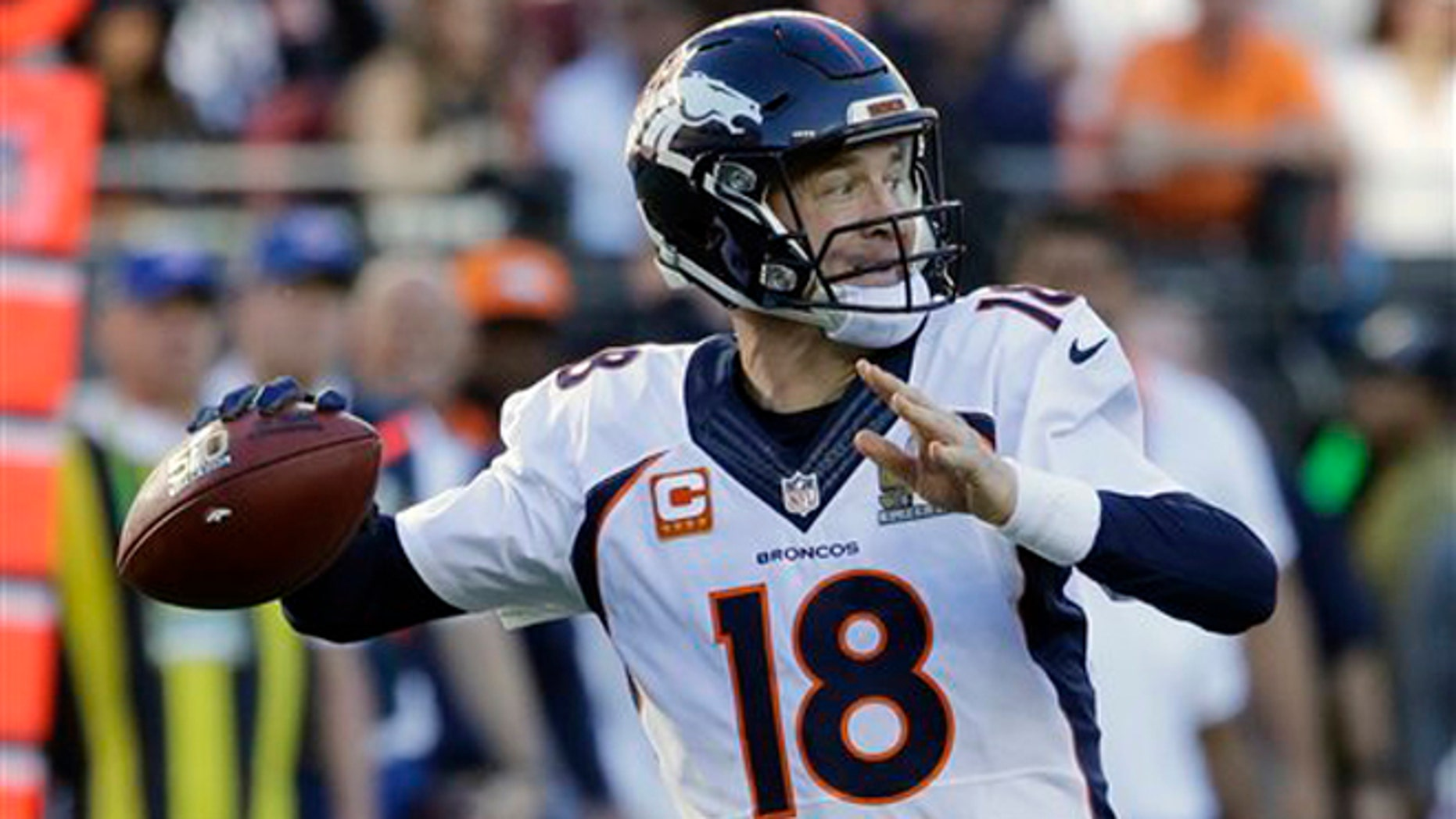 Denver Broncos' Peyton Manning (18) throws during the first half of the NFL Super Bowl 50 football game against the Carolina Panthers Sunday, Feb. 7, 2016, in Santa Clara, Calif. (AP Photo/Gregory Bull)