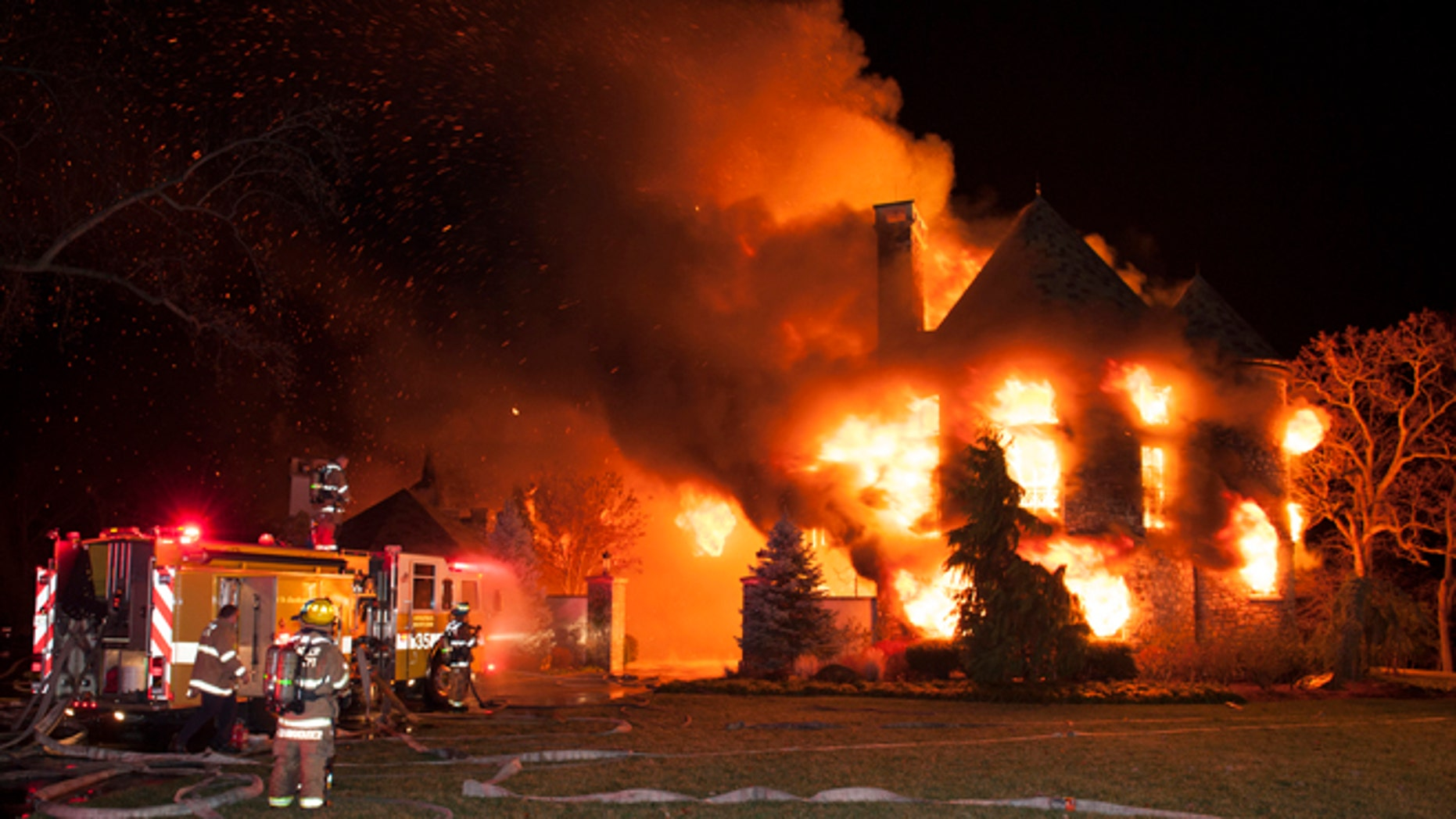Jan. 19, 2015: Firefighters battle a four-alarm fire at a home on Childs Point Road in Annapolis, Md. The occupants of the home were unaccounted for and fire officials were investigating.