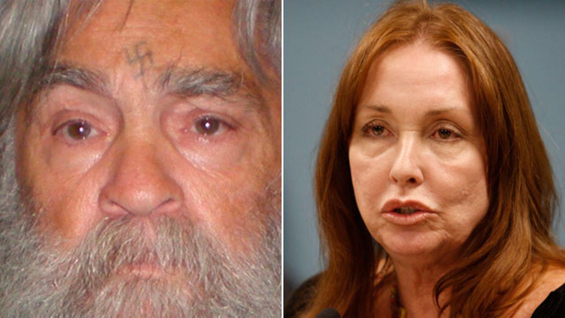 FILE: Debra Tate, sister of Sharon Tate, speaks at a parole hearing for Manson follower Susan Atkins.