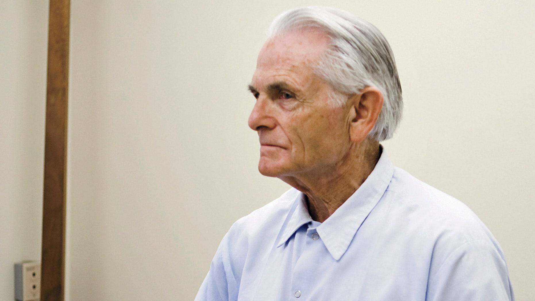 FILE - In this Oct. 4, 2012 file photo, Bruce Davis waits for the start of a parole hearing at the California Mens Colony in San Luis Obispo, Calif.