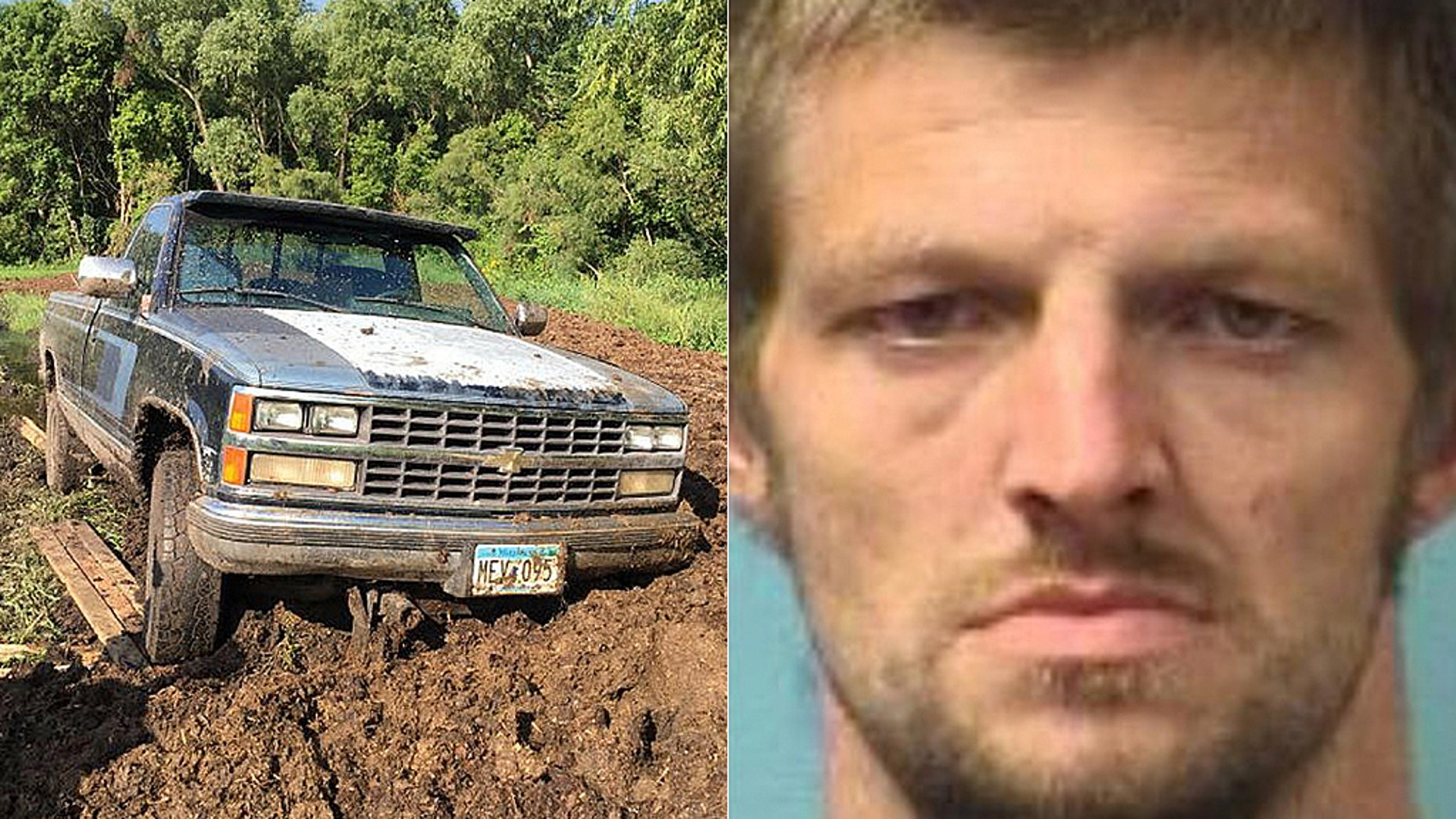 Matthew Bloomquist, 29, was nabbed on a burglary charge after he got stuck in a manure pile during the getaway, investigators said.