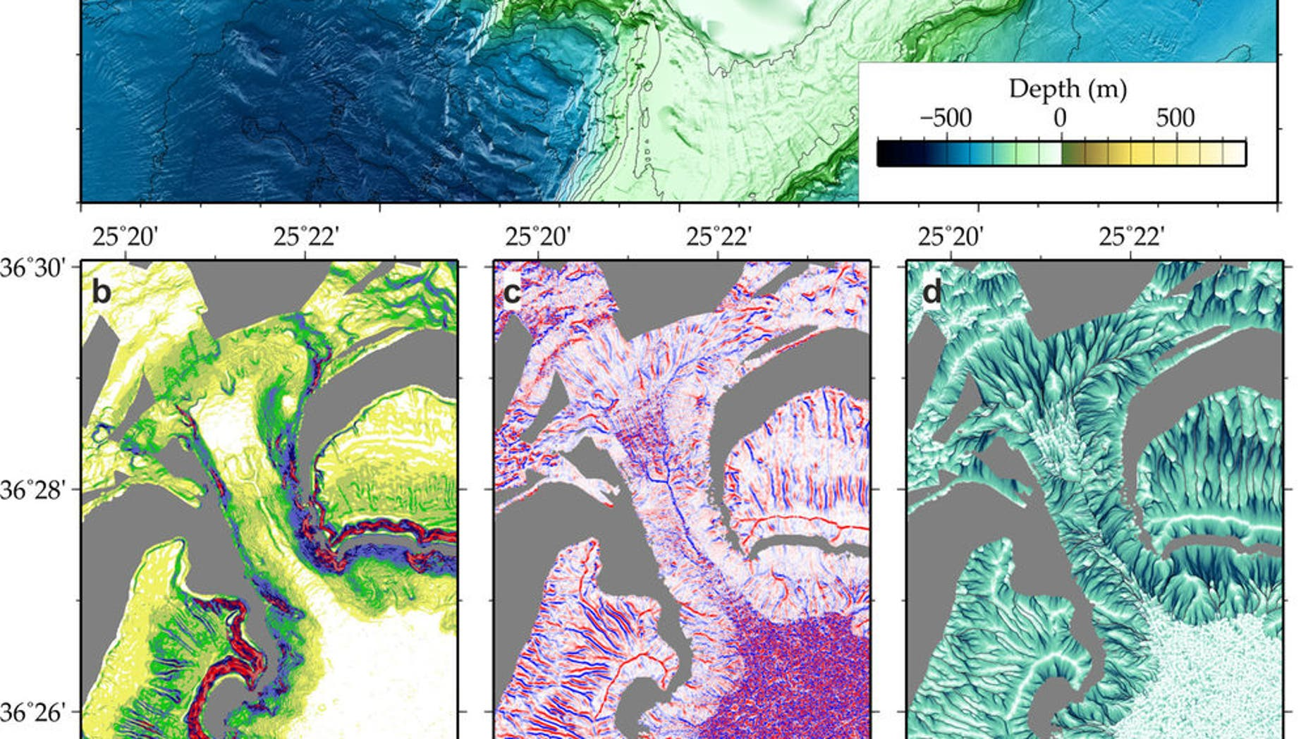 A combined topographic map of the Santorini volcanic field shows how the flow of volcanic material entered the sea via the northwest strait (orange box). (Nomikou P., M. Paulatto, L.M. Kalnins and D. Lampridou)