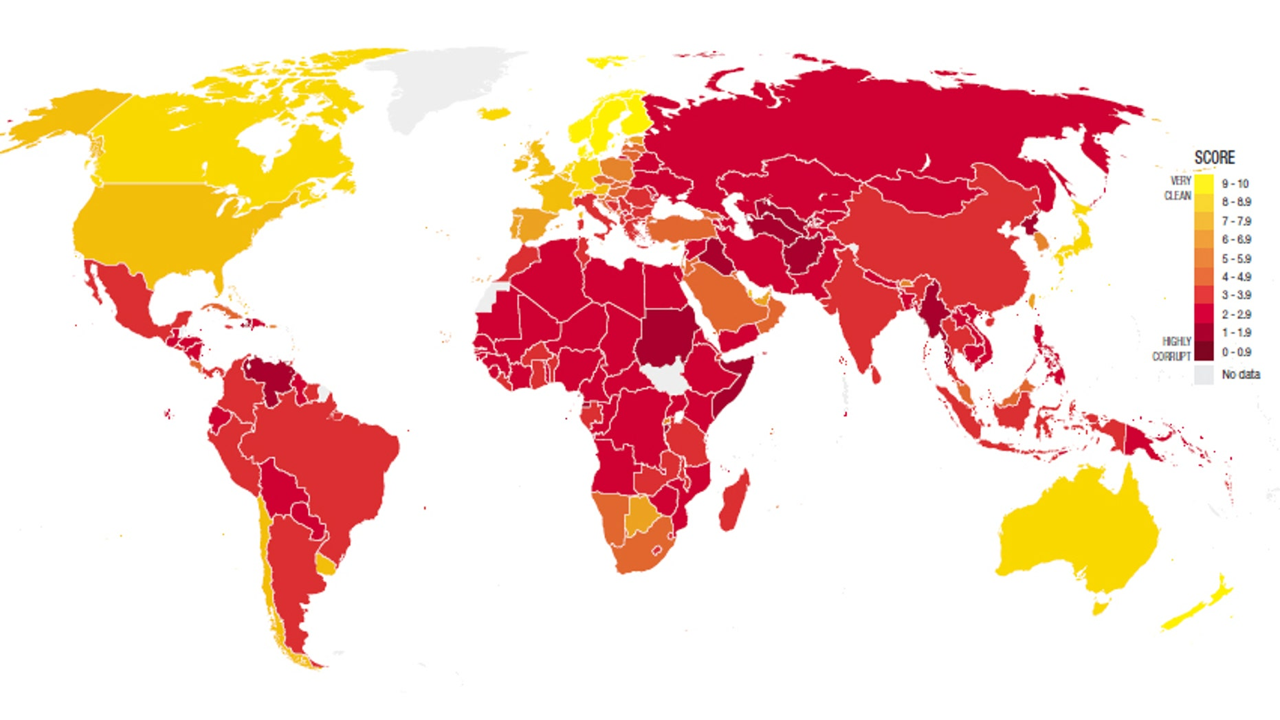 A map of the world showing corruption levels across the globe. Yellow is very clean, while dark red signifies highly corrupt.