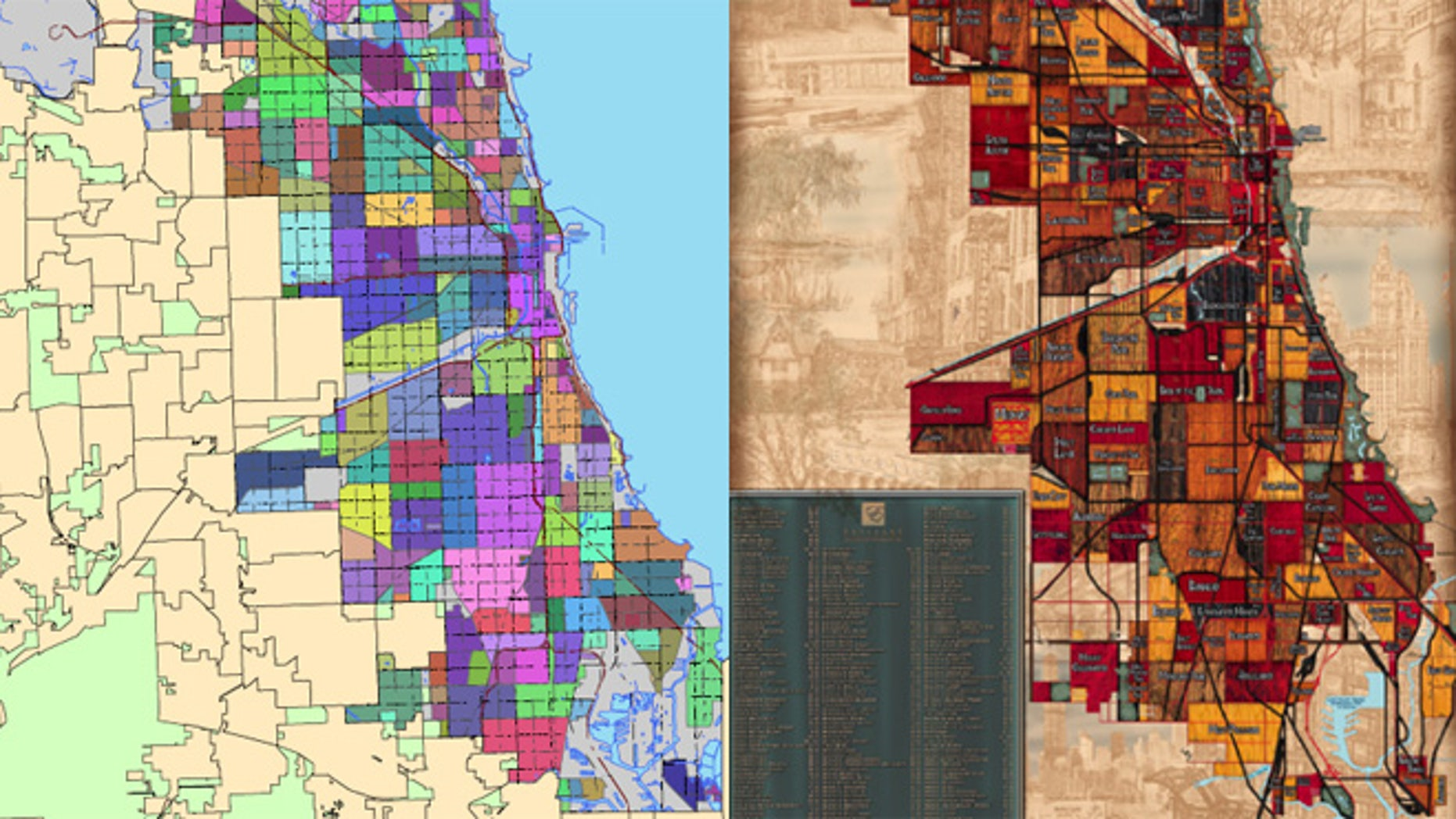Shown here is the map on the Chicago city website, left, and the map produced by Christopher Devane's company Big Stick.