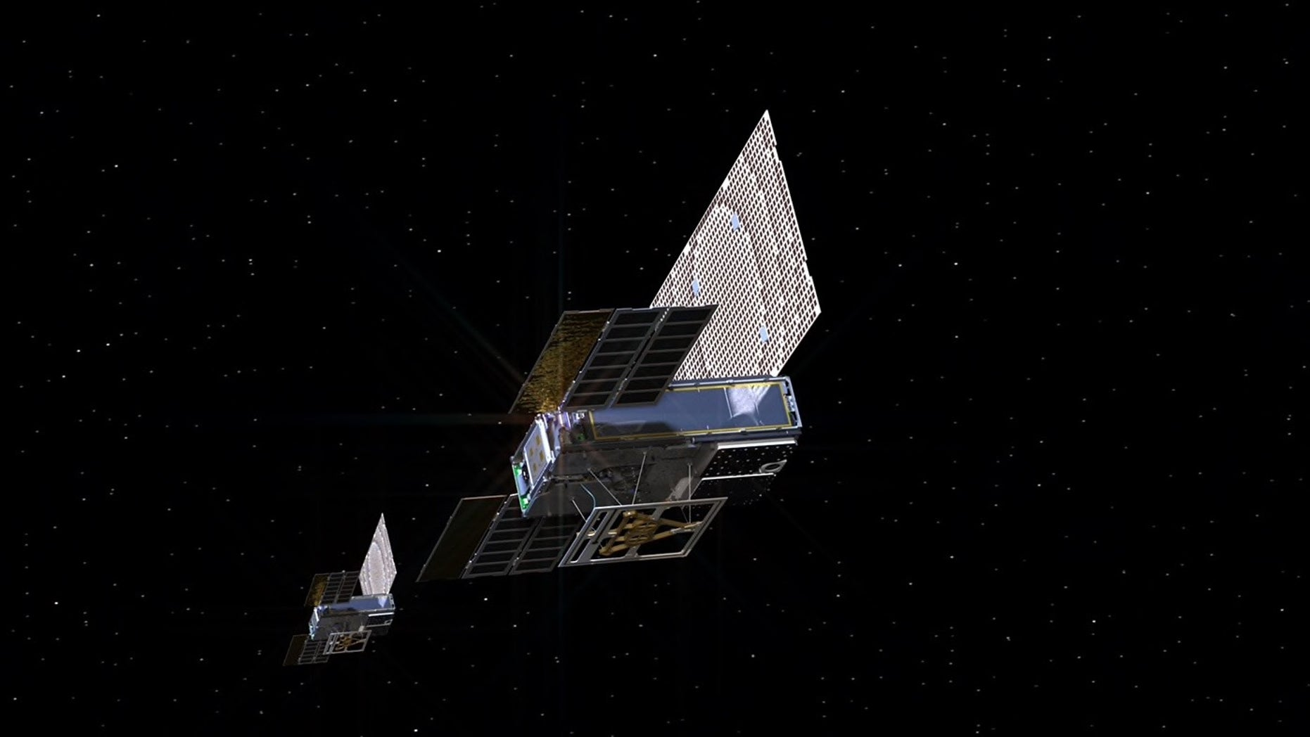 An artist's illustration of the twin Mars Cube One (MarCO) spacecraft deep space. The MarCOs are the first cubesats attempting to fly to another planet.