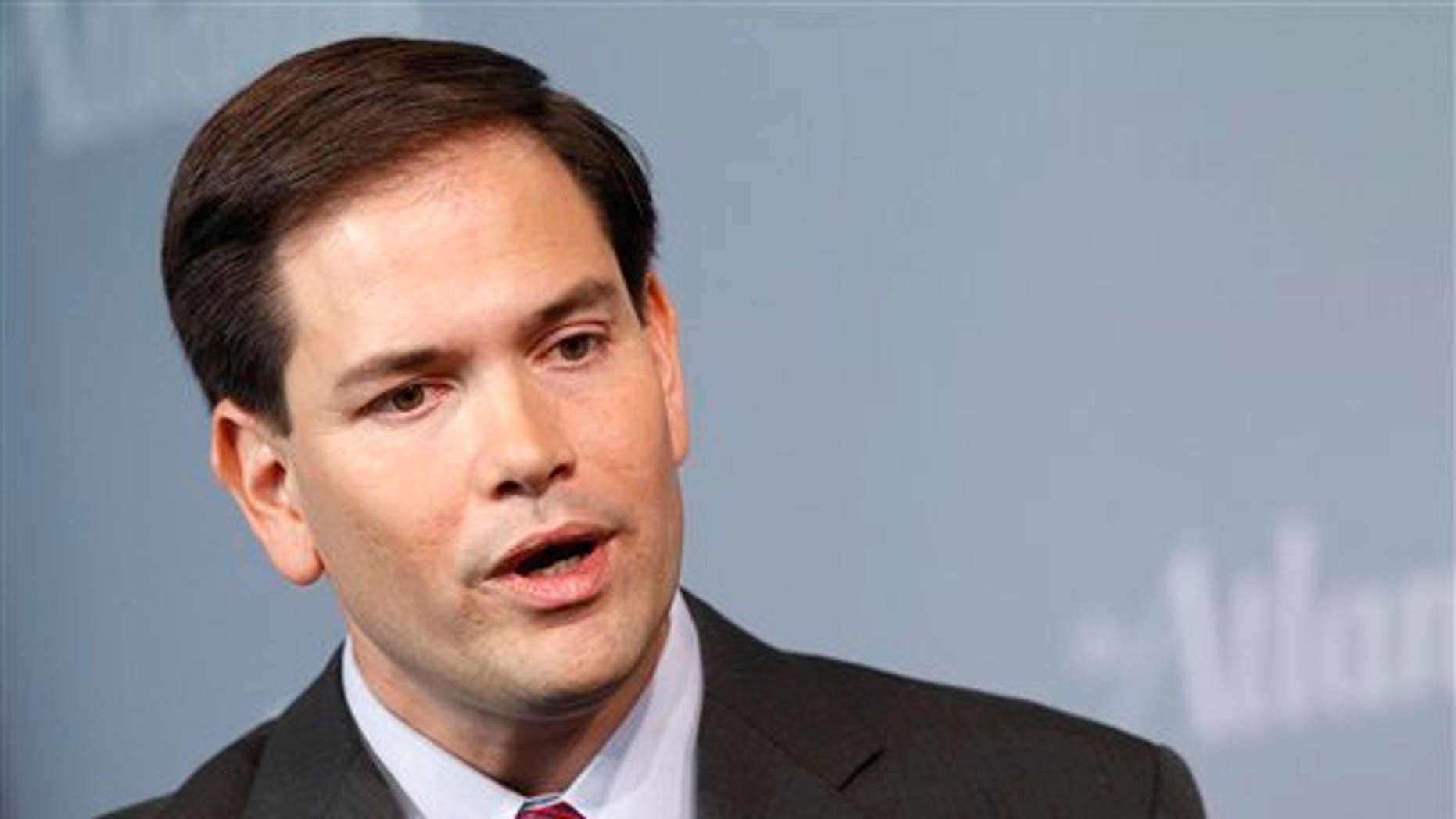 Sen. Marco Rubio, R-Fla., speaks during the Atlantic Forum, Wednesday, Oct. 5, 2011, at the Newseum in Washington. The Atlantic, the Aspen Institute, and the Newseum presented the third Annual Washington Ideas Forum, which drew together more than 60 policy makers, business leaders, and top journalists for a series of conversations and in-depth interviews about the direction of the country. (AP Photo/Haraz N. Ghanbari)