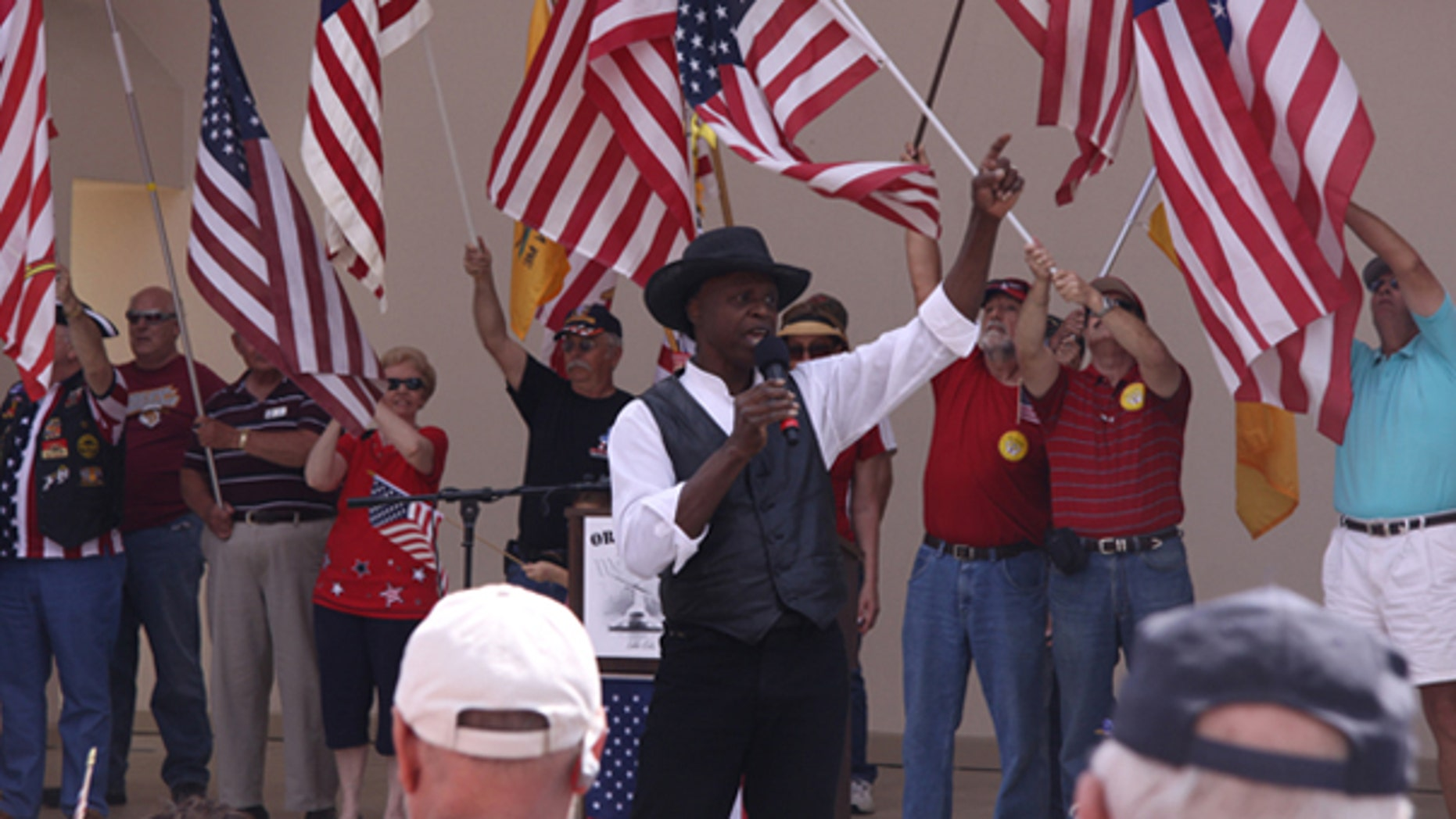 Lloyd Marcus is shown here at a March 2009 tea party rally in Orlando. (Courtesy of Lloyd Marcus)