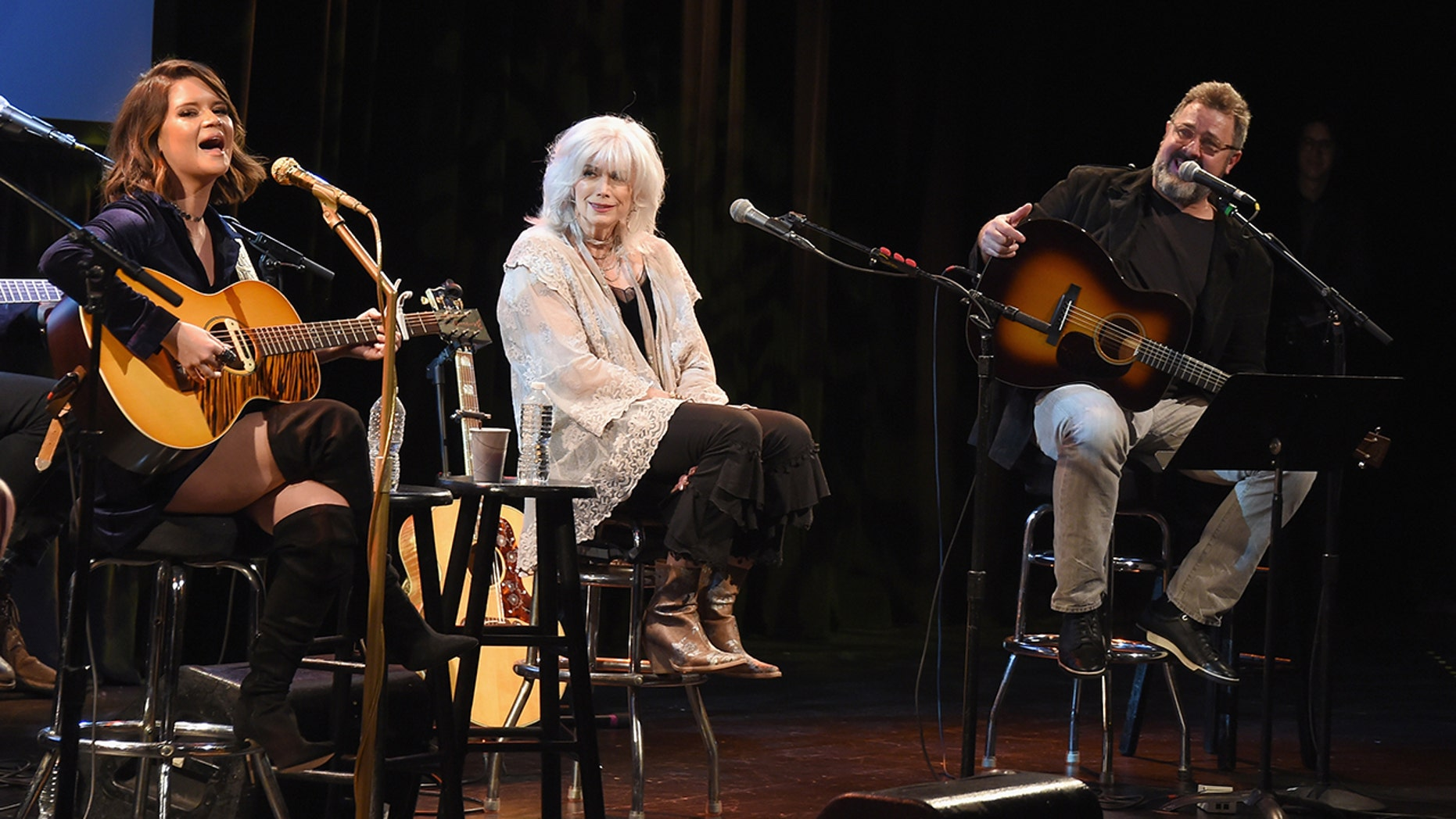 Musicians Maren Morris, Emmylou Harris and Vince Gill perform onstage at the Country Music Hall of Fame and Museum's 'All for the Hall' Benefit on February 13, 2018 in New York City.