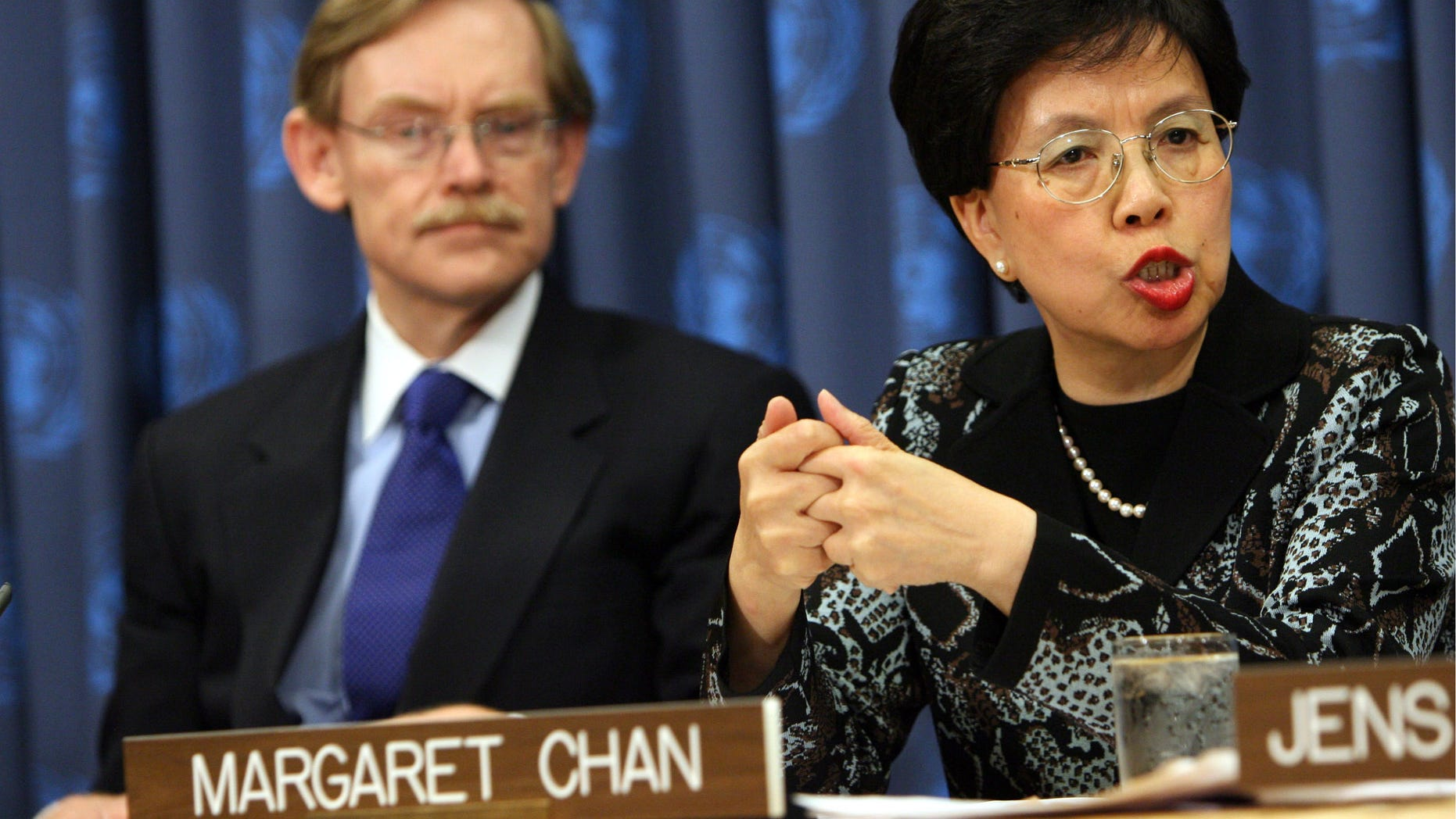 NEW YORK - SEPTEMBER 25:  Director-General of the World Health Organization Margaret Chan speaks during a press conference to launch a plan aimed at saving 10 million mothers and newborns in the poorest countries by 2015 at the 63rd annual United Nations General Assembly meeting September 25, 2008 at UN headquarters in New York City.  Leaders from around the world have descended on New York to discuss current political issues.  (Photo by Rick Gershon/Getty Images)