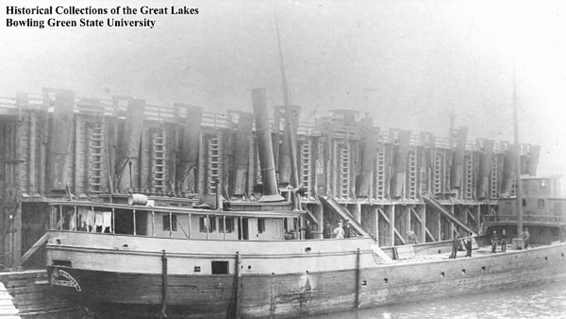 The wooden steam barge Margaret Olwill sank in Lake Erie in 1899 during a storm.