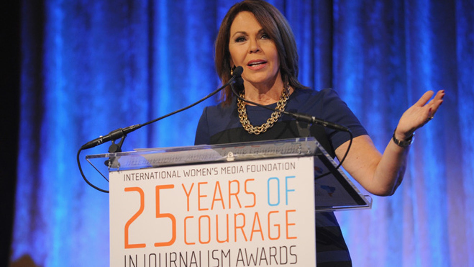 NEW YORK, NY - OCTOBER 22:  Journalist Maria Elena Salinas speaks onstage at the International Women's Media Foundation  Awards Luncheon at Cipriani 42nd Street on October 22, 2014 in New York City.  (Photo by Bryan Bedder/Getty Images for IWMF)