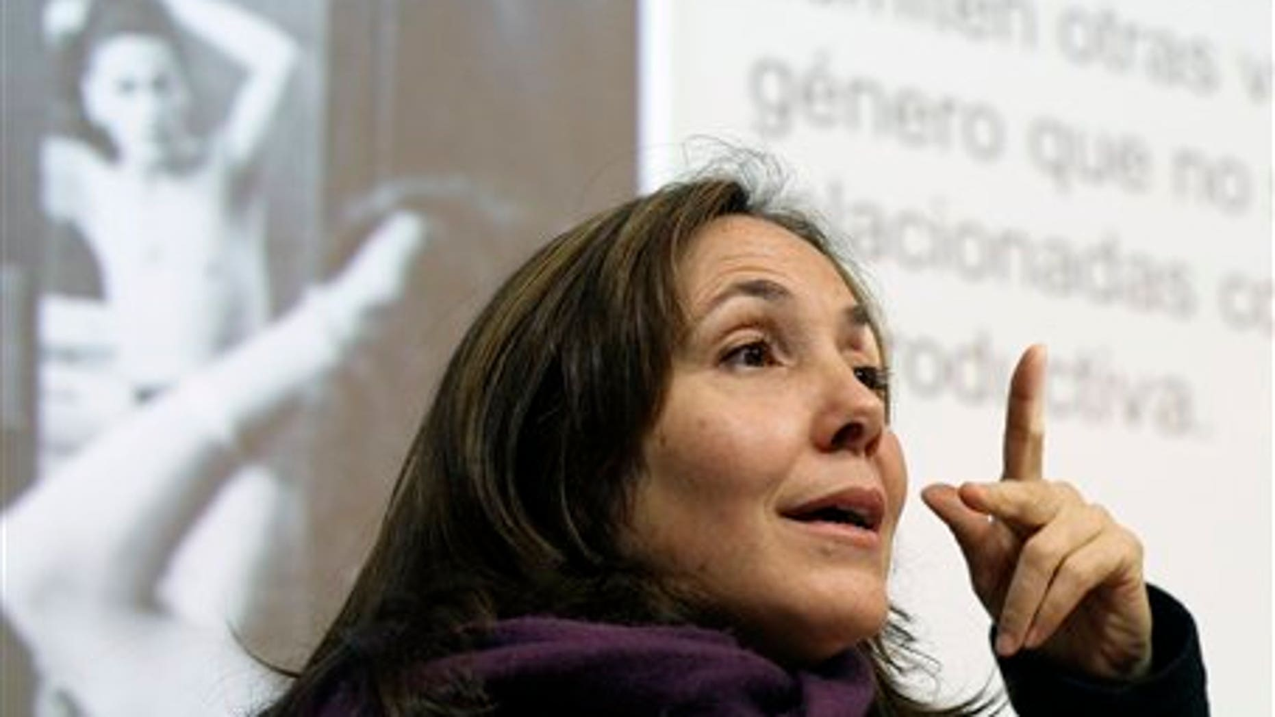 Mariela Castro, daughter of Cuban President Raul Castro, speaks during an academic conference at San Francisco General Hospital in San Francisco, Wednesday, May 23, 2012. Castro, an outspoken gay rights advocate, spoke at a medical lecture for health care providers on care for transgender patients. (AP Photo/Eric Risberg)