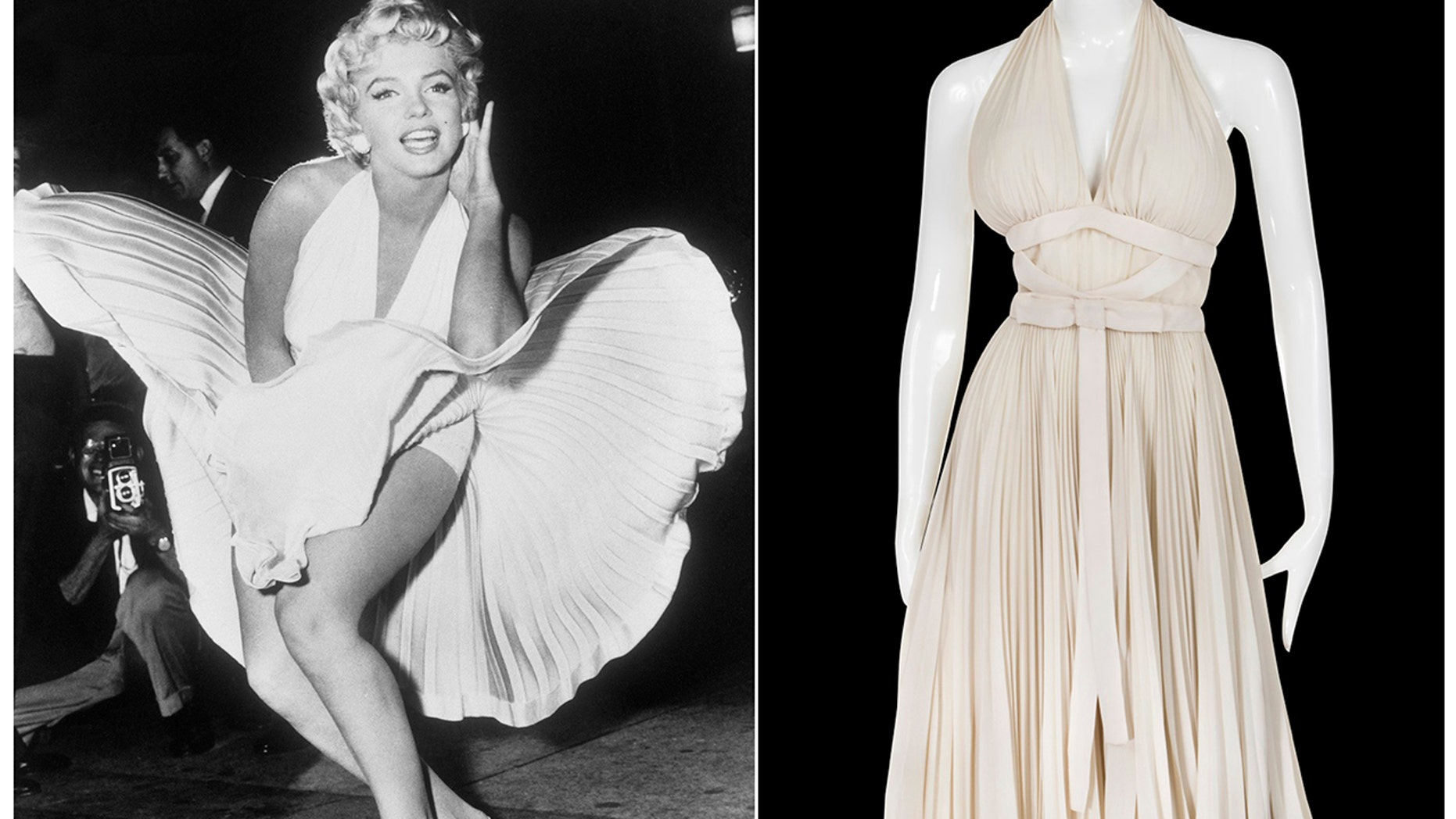 "This combination photo shows actress Marilyn Monroe posing over the updraft of a New York subway grate while filming ""The Seven Year Itch"" New York, left, and the dress she is wearing on a mannequin. The dress, created by Bill Travilla, is one of several items that will be up for auction in October 2018."