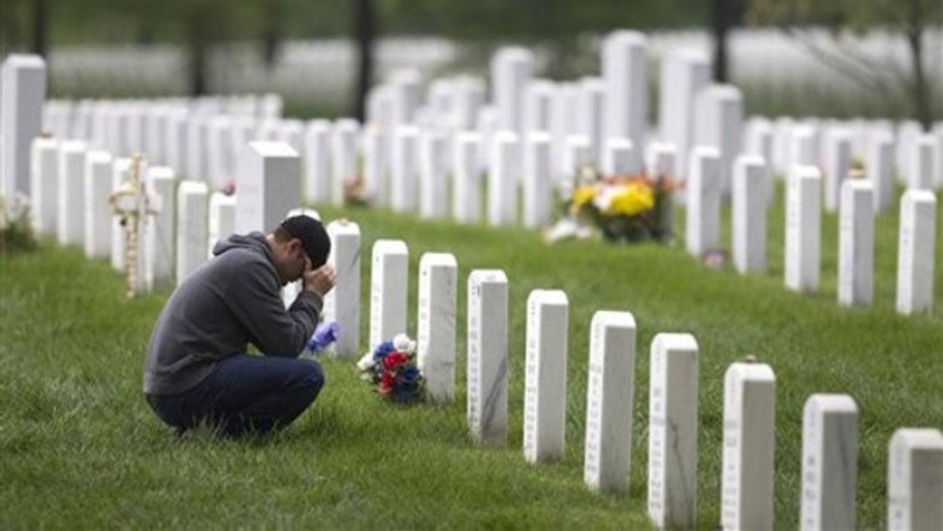 A former Marine is shown at Arlington National Cemetery in Arlington, Va., May 2.